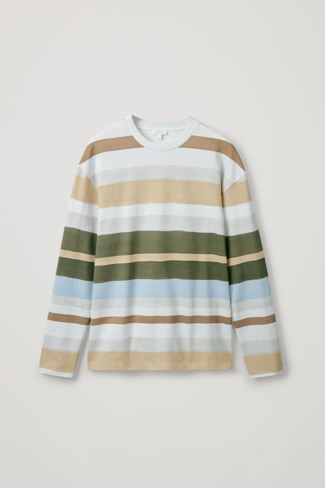 Front image of Cos long-sleeved multi-striped t-shirt in blue