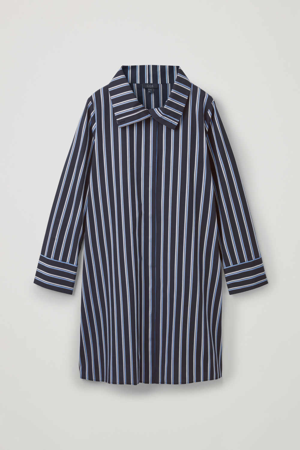 Front image of Cos striped dress with collar  in blue