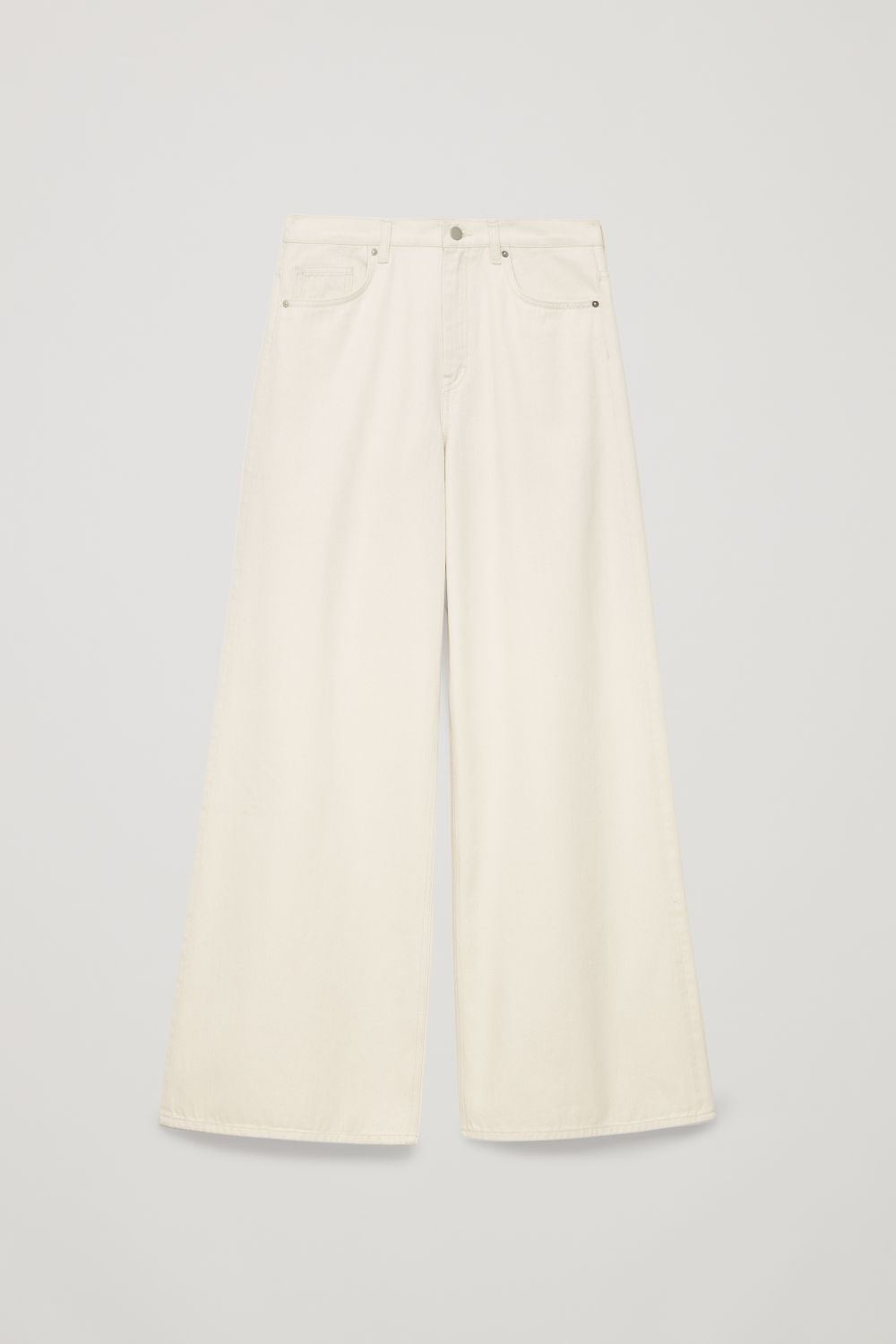 Front image of Cos wide leg jeans in white
