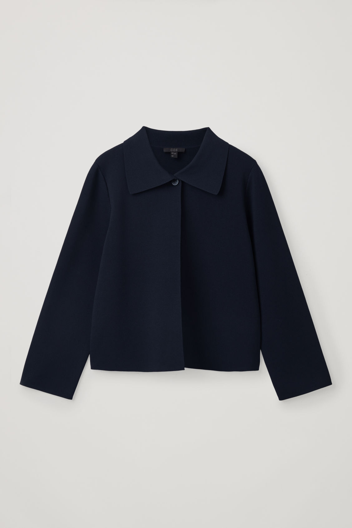 Front image of Cos full-milano knit jacket in blue