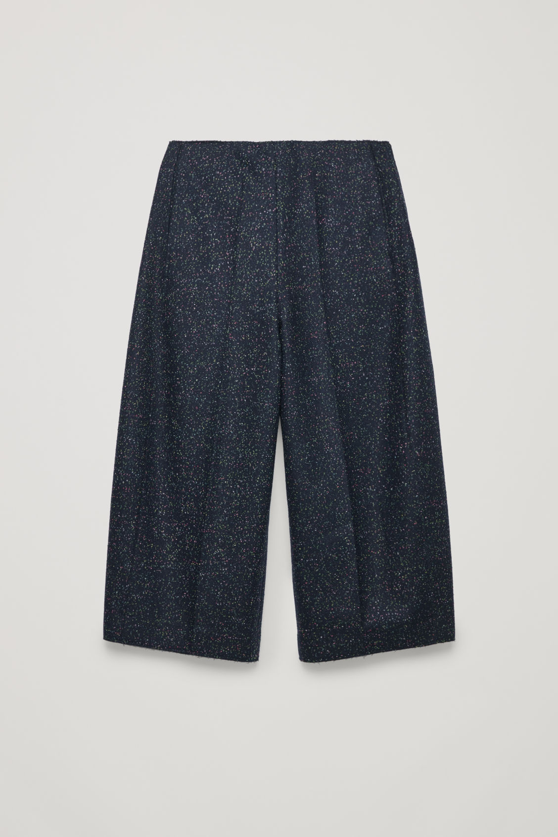 Front image of Cos loop-stitched rounded wool culottes in blue