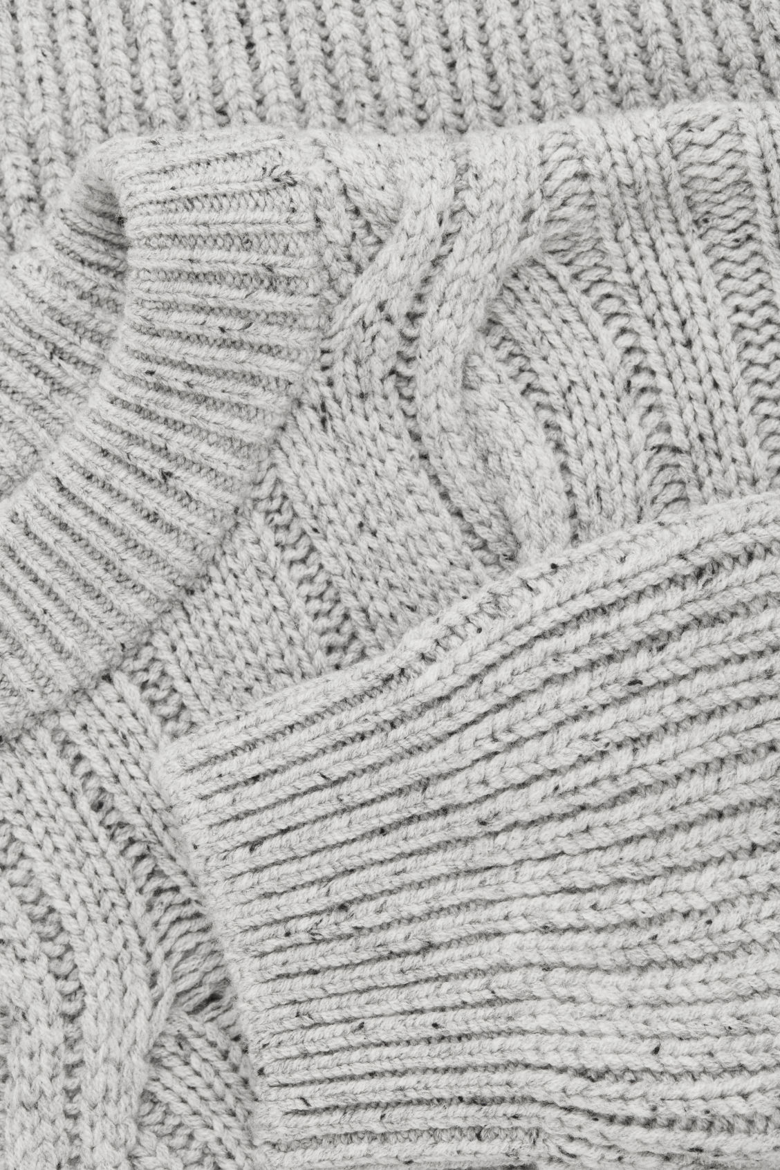 Side image of Cos speckled cable-knit wool jumper in grey