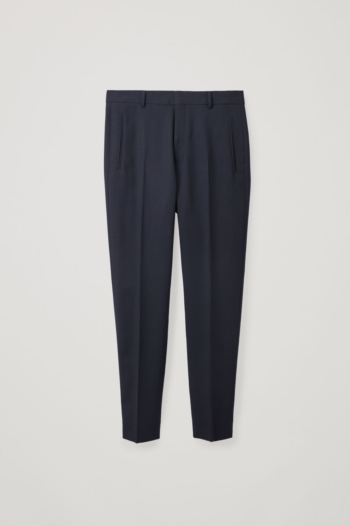 Front image of Cos straight-leg tailored trousers in blue