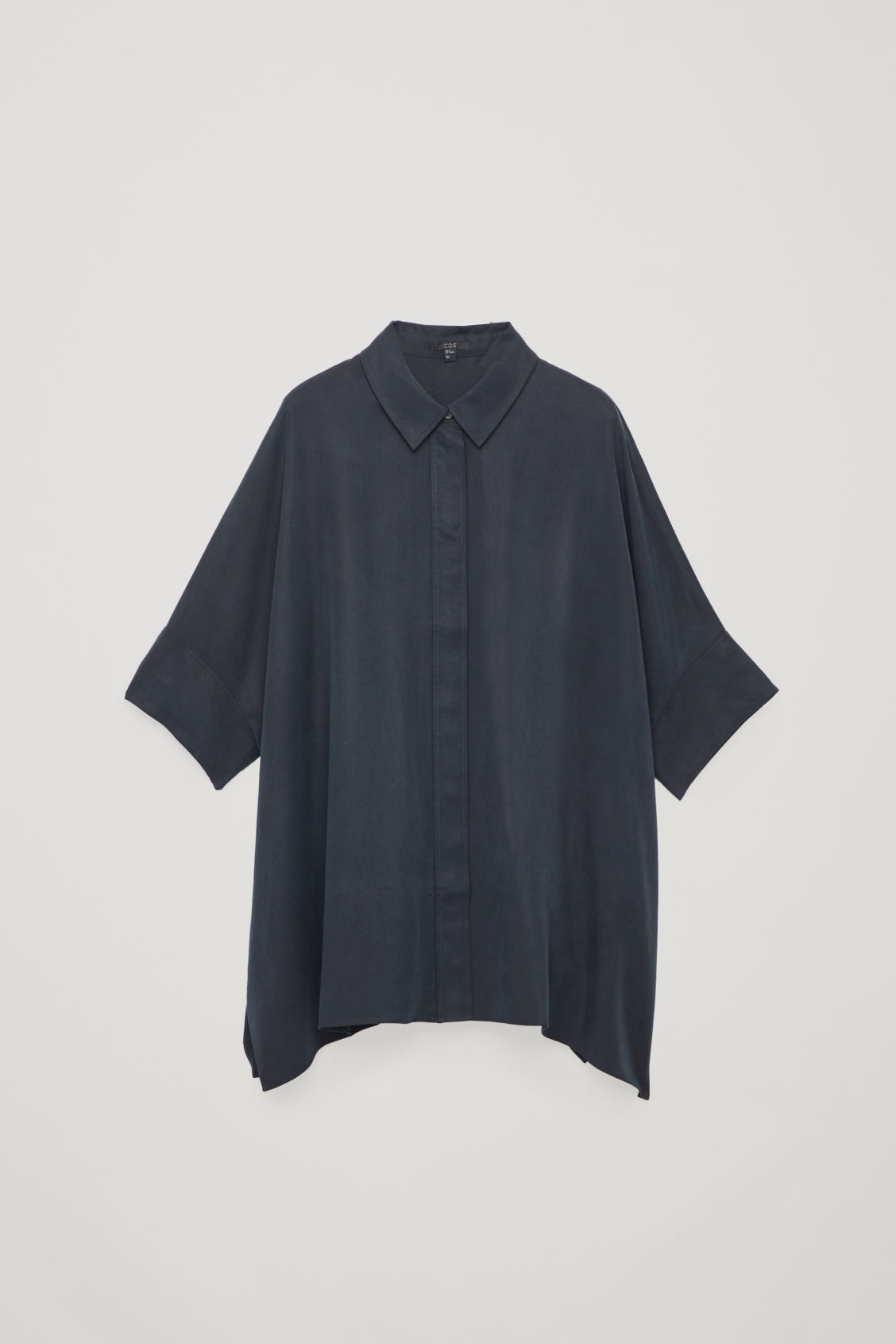 Front image of Cos patch-pocket oversized shirt in blue