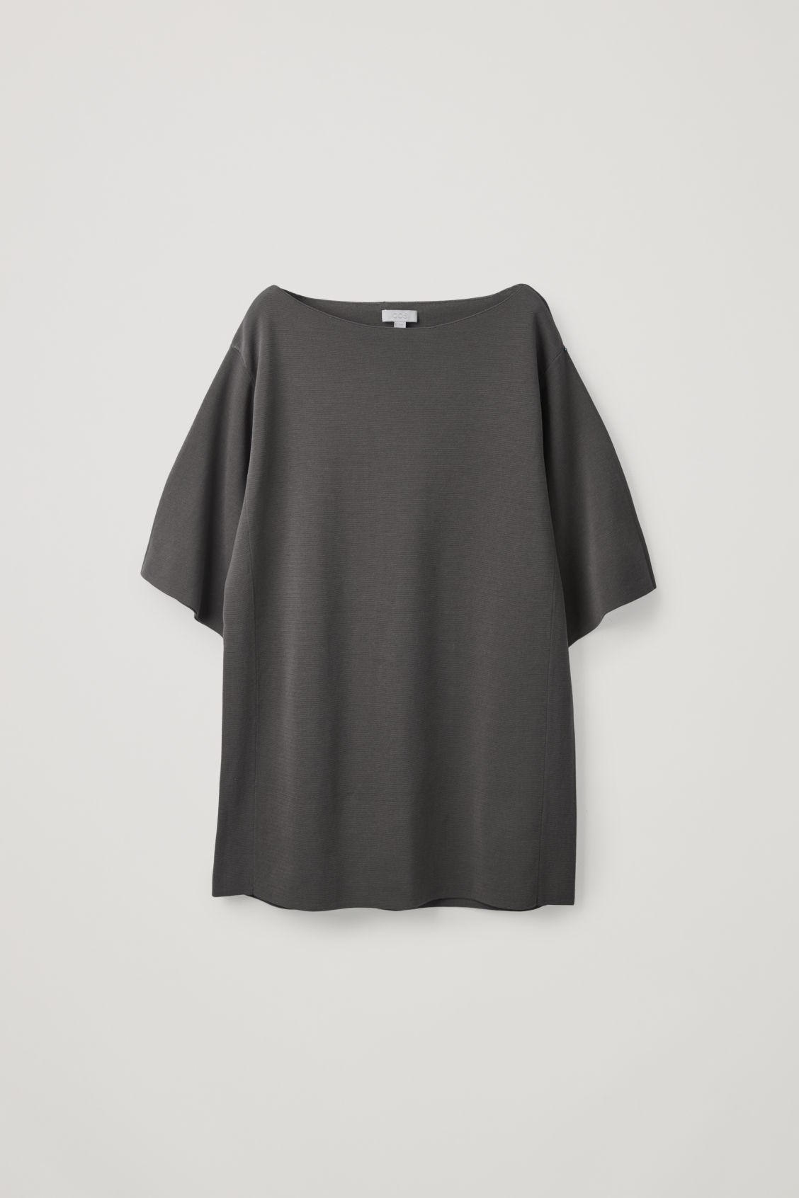 Front image of Cos boat-neck knitted top in grey
