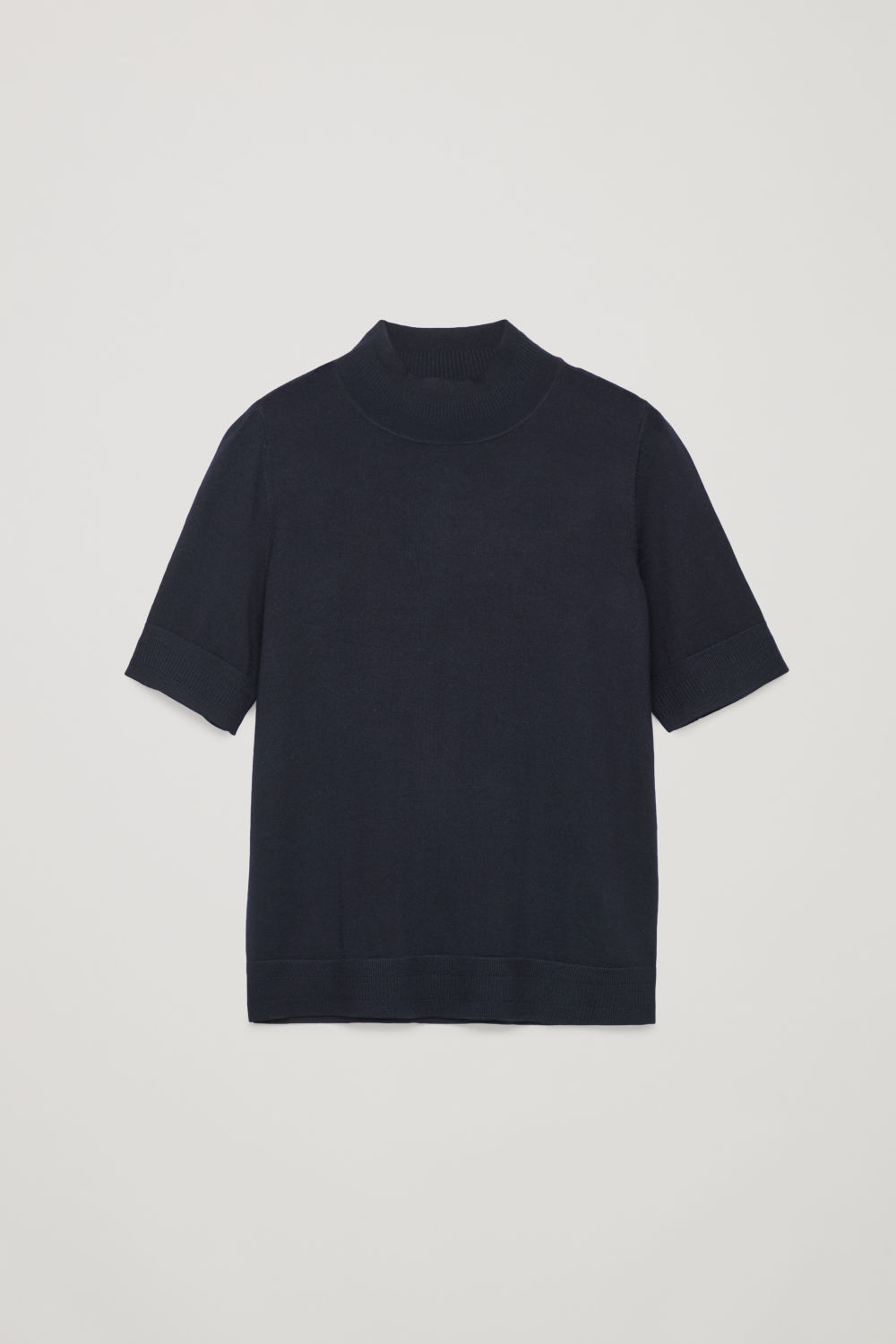 Front image of Cos rib-detailed merino-knit top in blue
