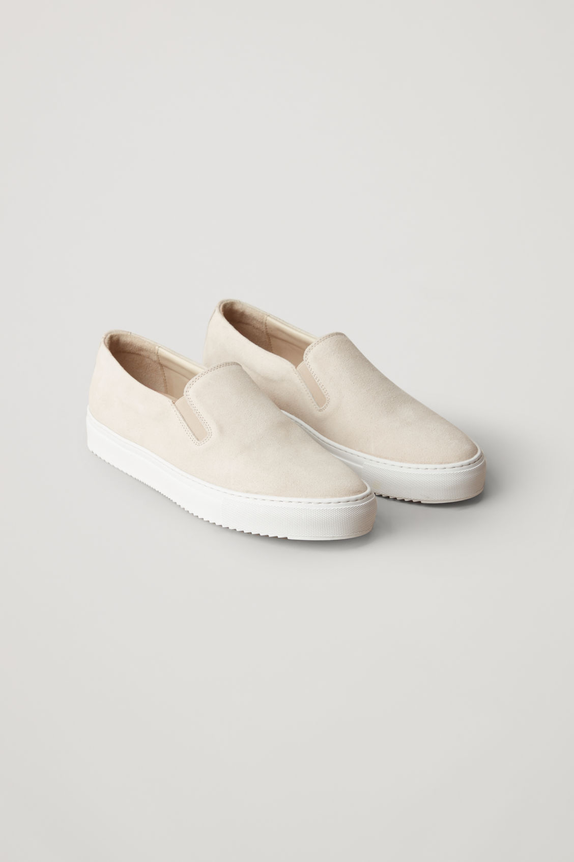Front image of Cos suede slip-on sneakers  in cream