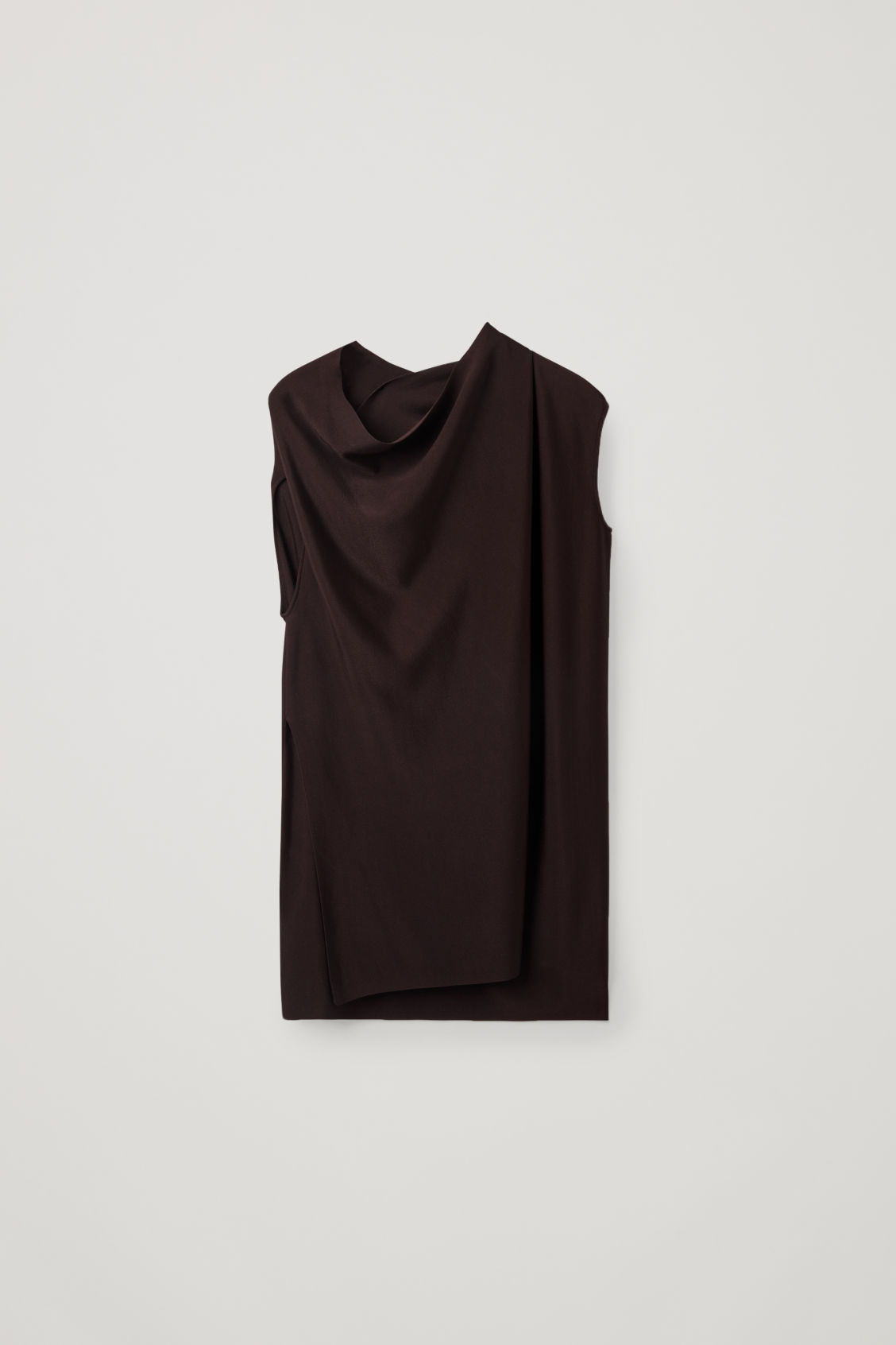 Front image of Cos draped sleeveless knit top in burgundy
