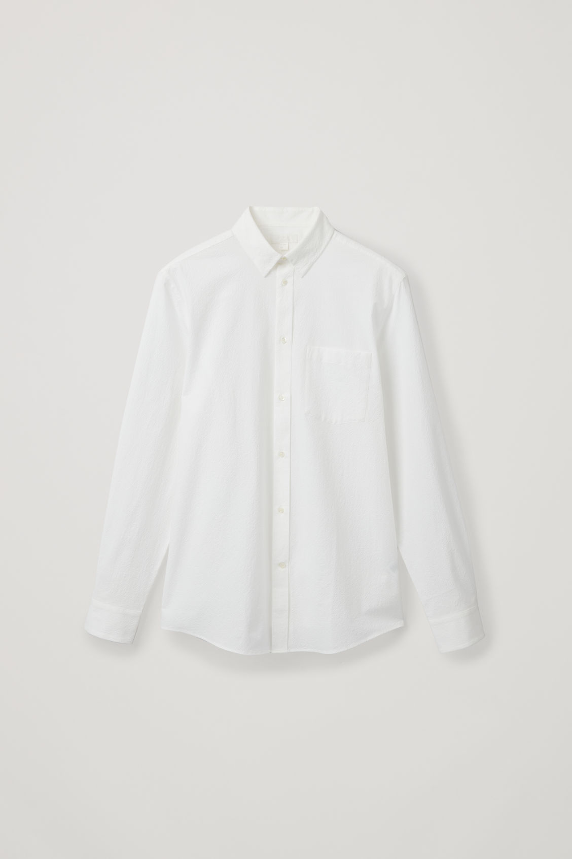 Front image of Cos cotton-seersucker shirt  in white