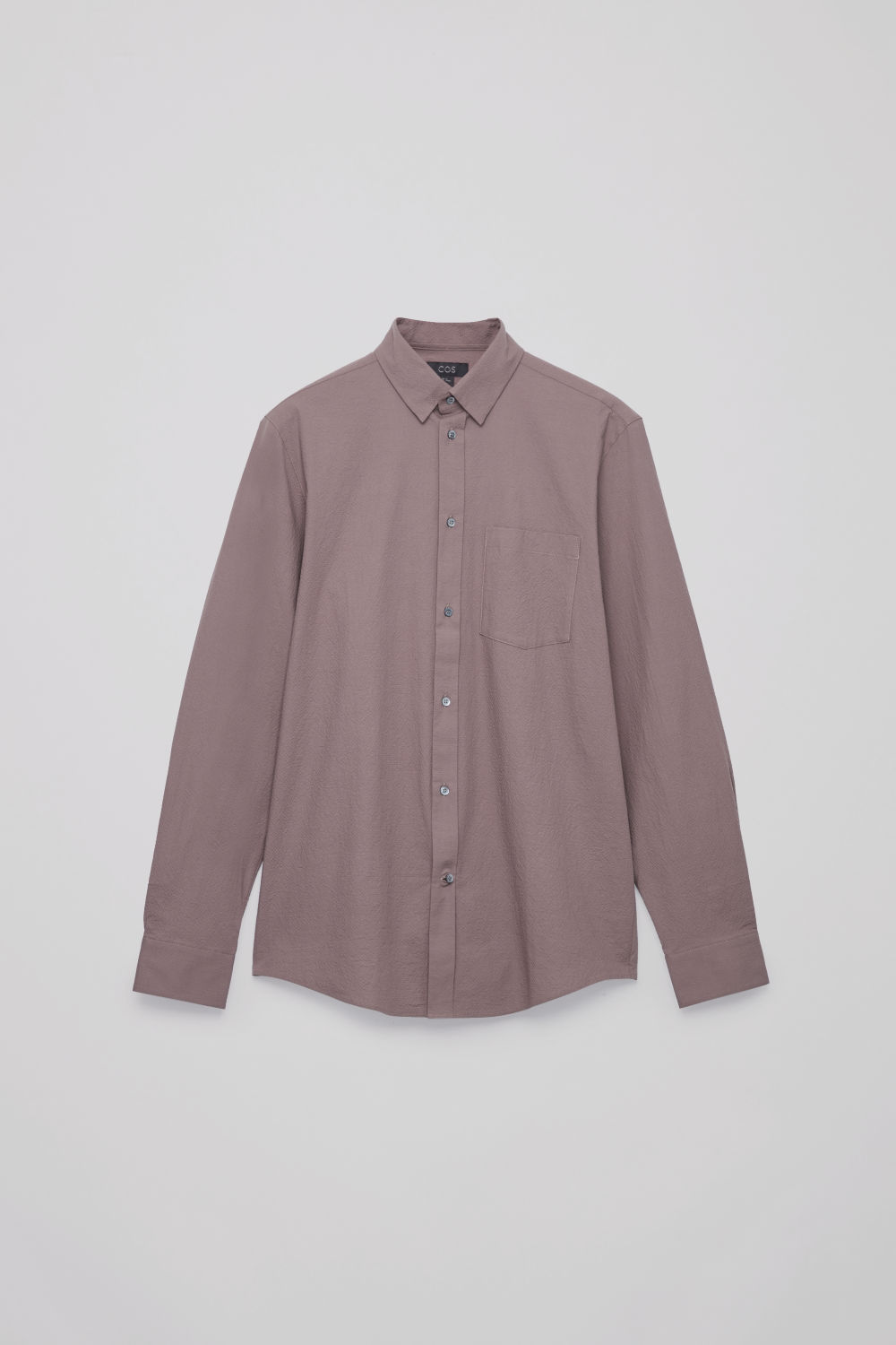 Front image of Cos cotton-seersucker shirt  in purple