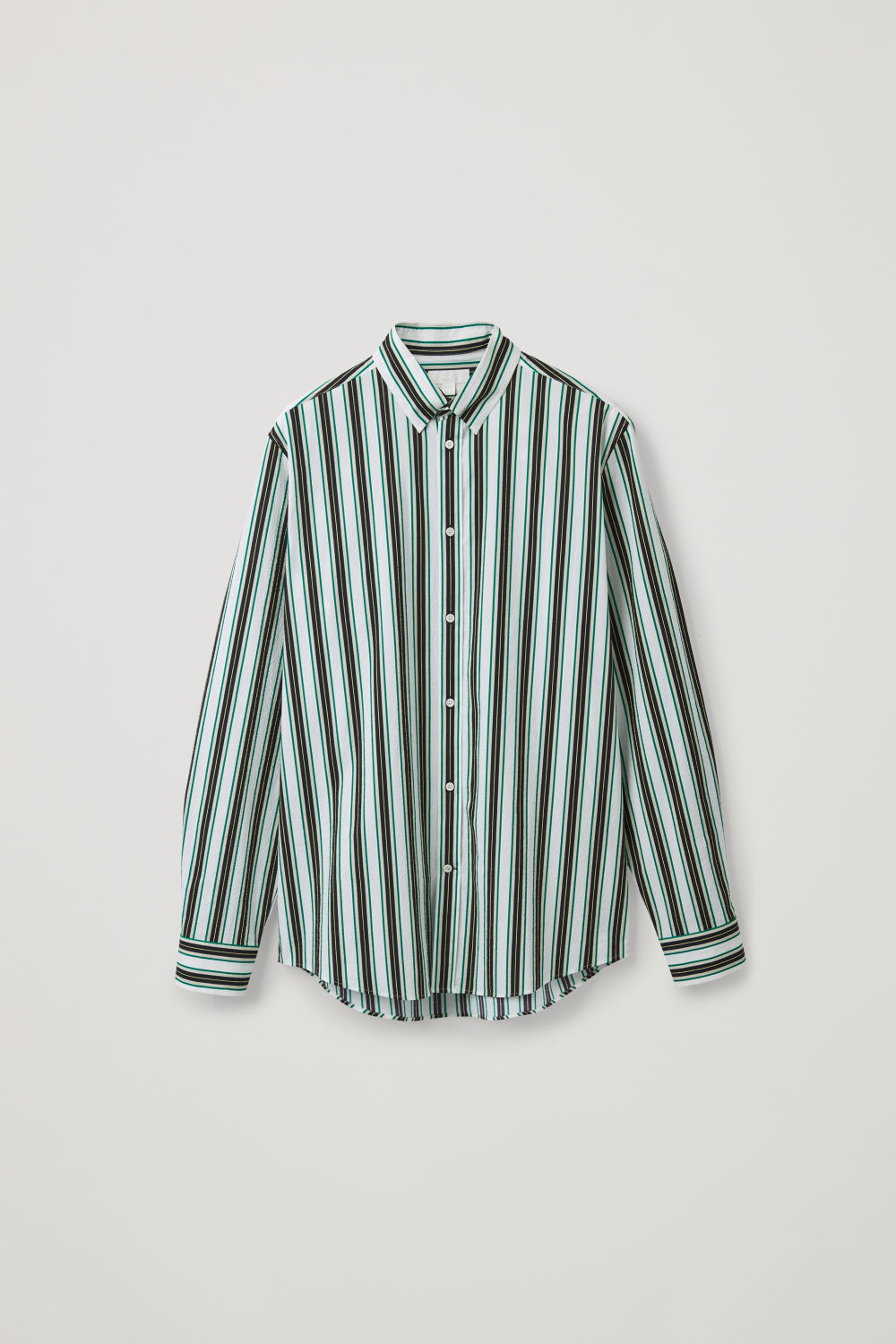 Front image of Cos striped seersucker shirt in green
