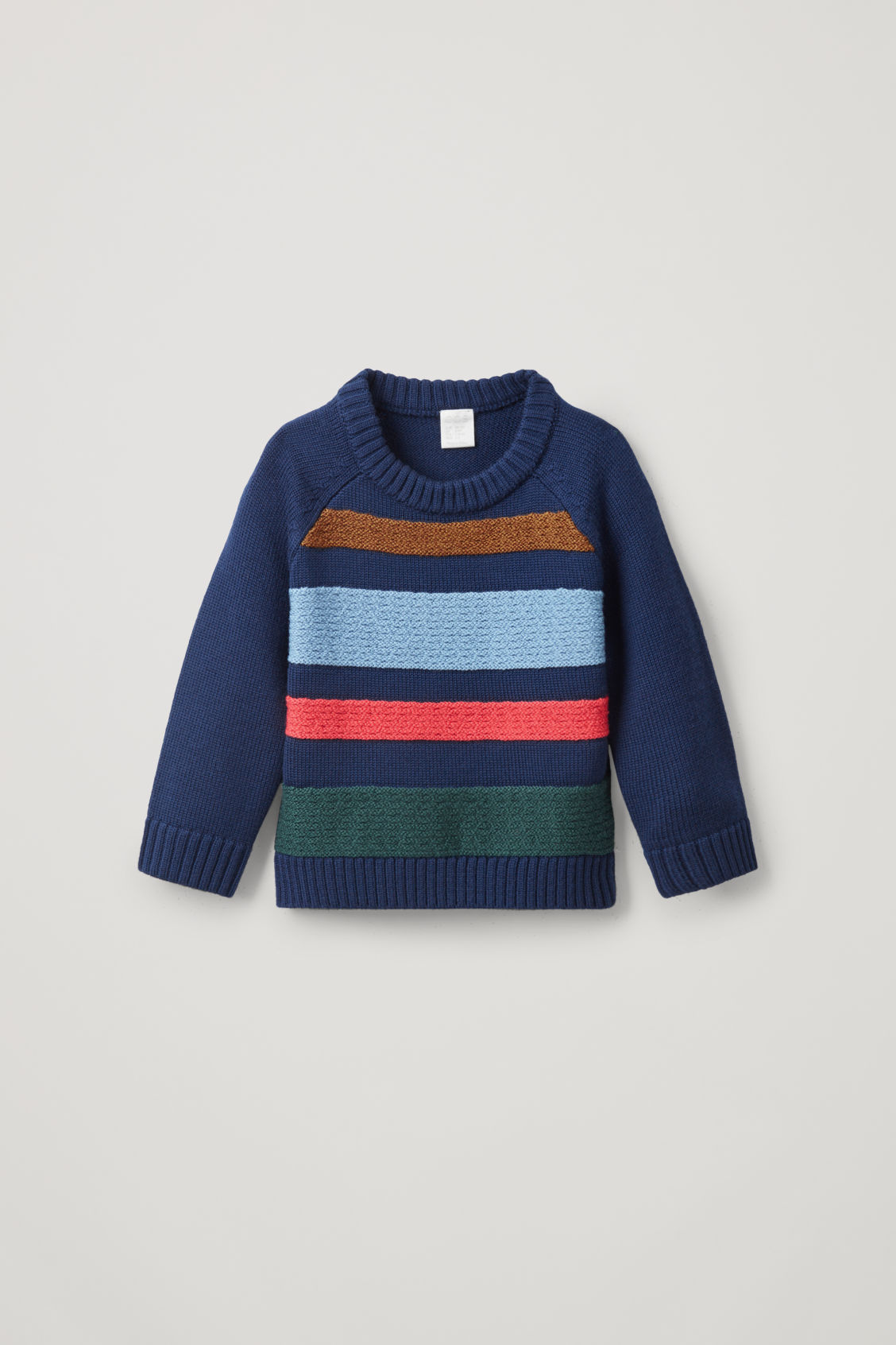 Cos Kids' Merino Jumper With Textured Stripes In Green