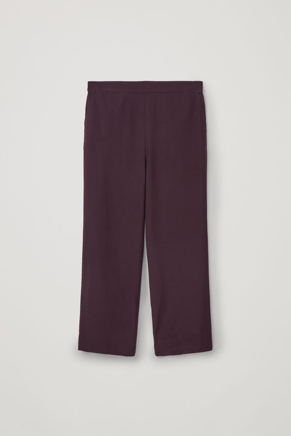 Front image of Cos relaxed silk trousers in purple