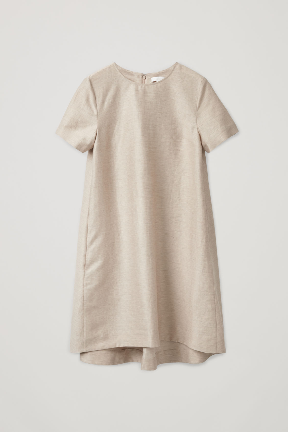 Front image of Cos linen dress with pleated back in beige