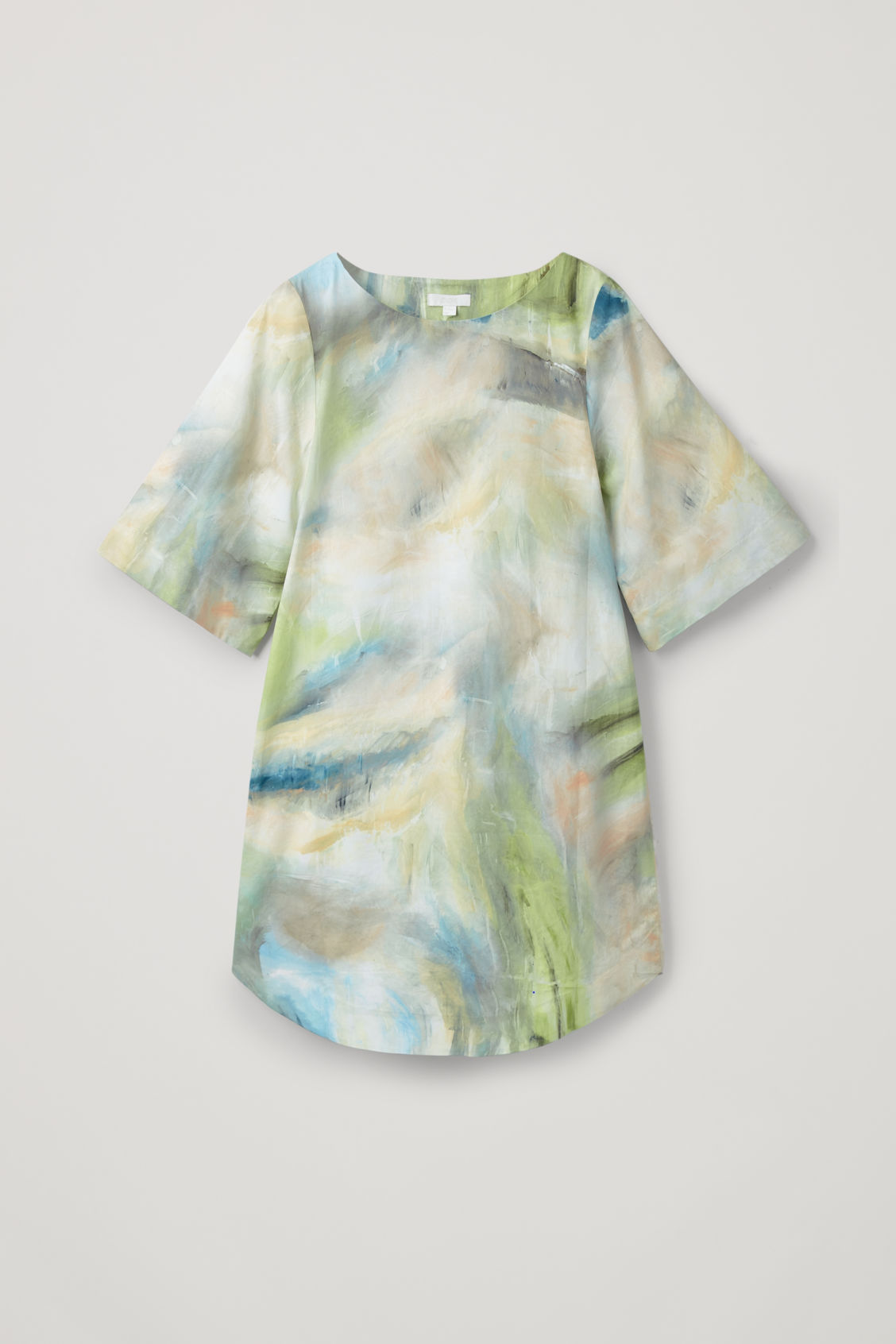 Front image of Cos brush-stroke printed dress in green