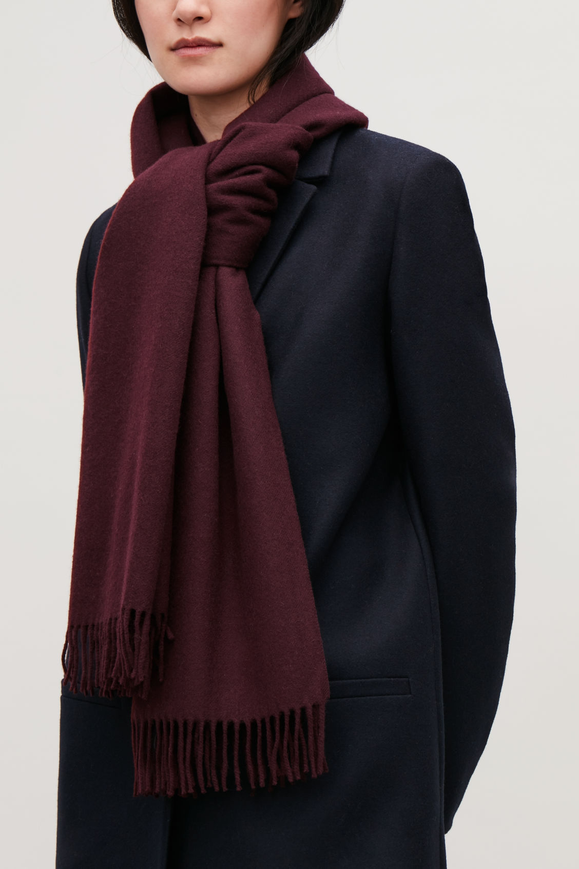 Detailed image of Cos wool-cashmere scarf in red