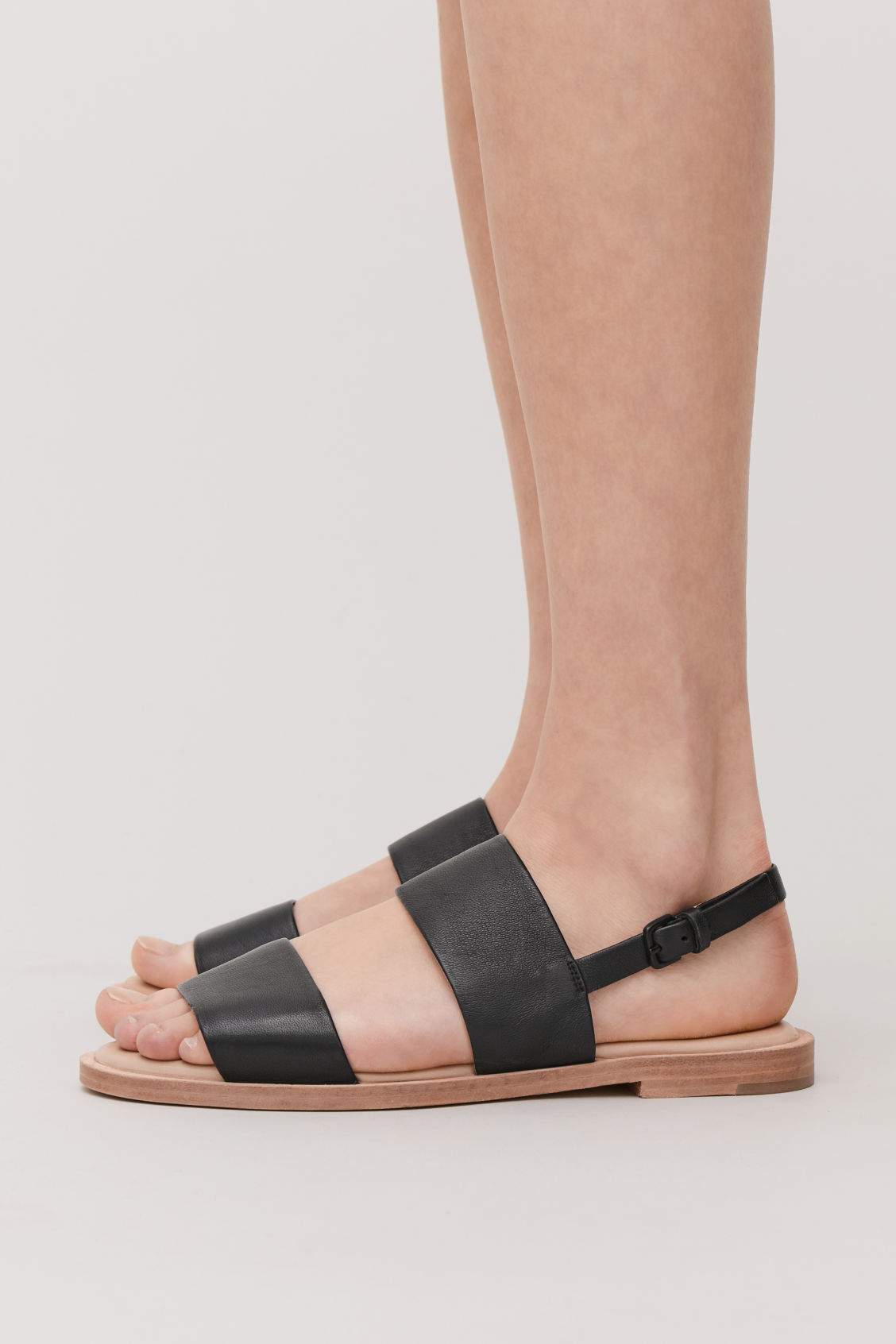 Detailed image of Cos leather strap sandals  in black