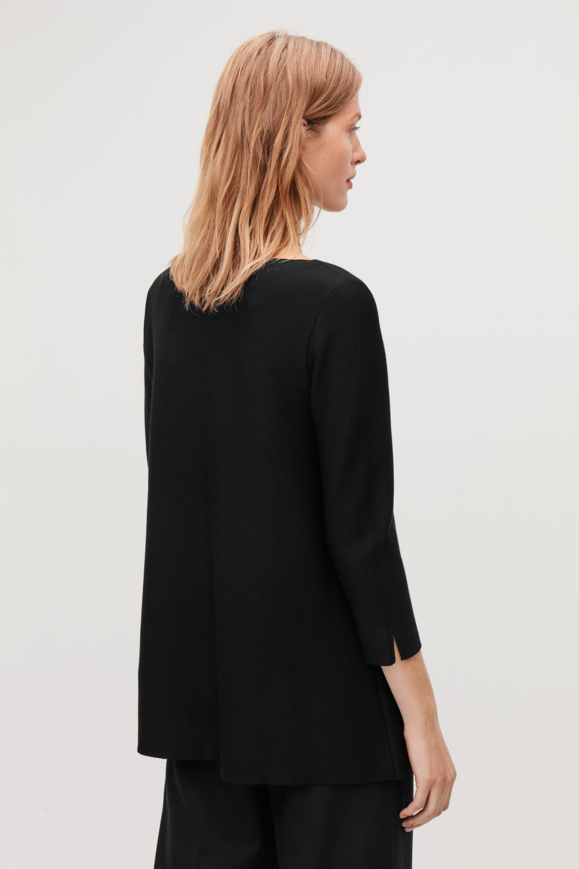Detailed image of Cos a-line merino jumper in black