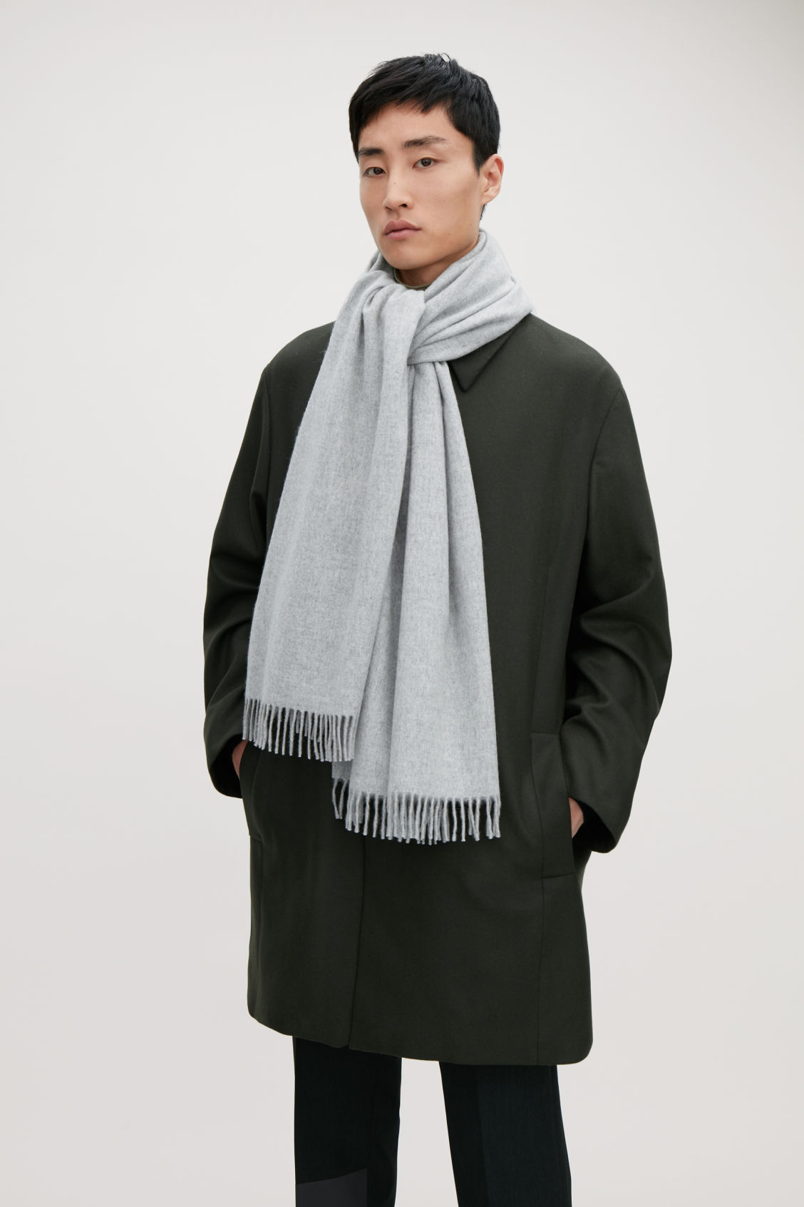 Detailed image of Cos wool-cashmere scarf  in grey