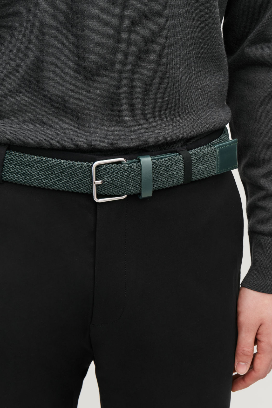 Detailed image of Cos textured elastic belt in green