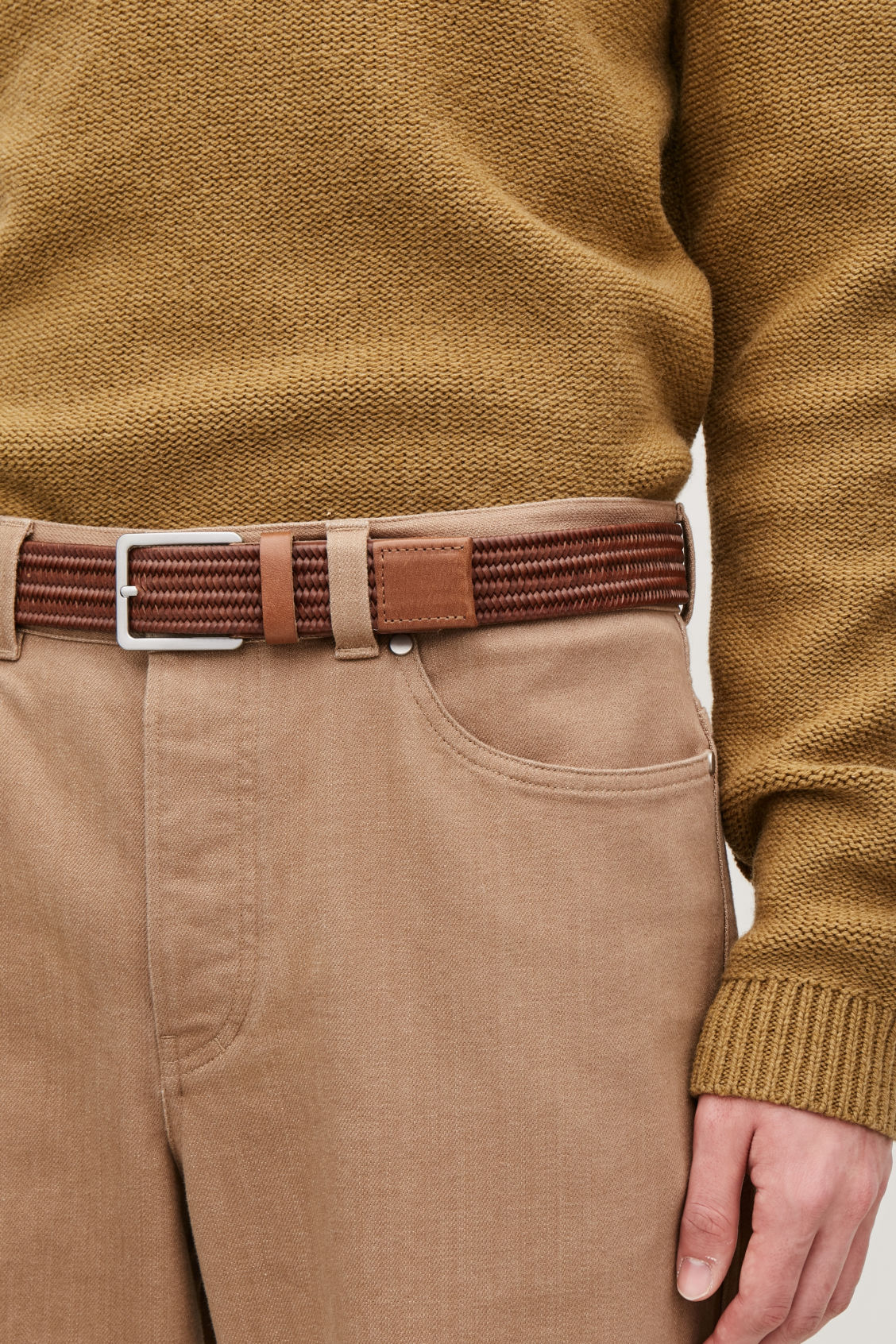 Detailed image of Cos elastic braided leather belt in beige
