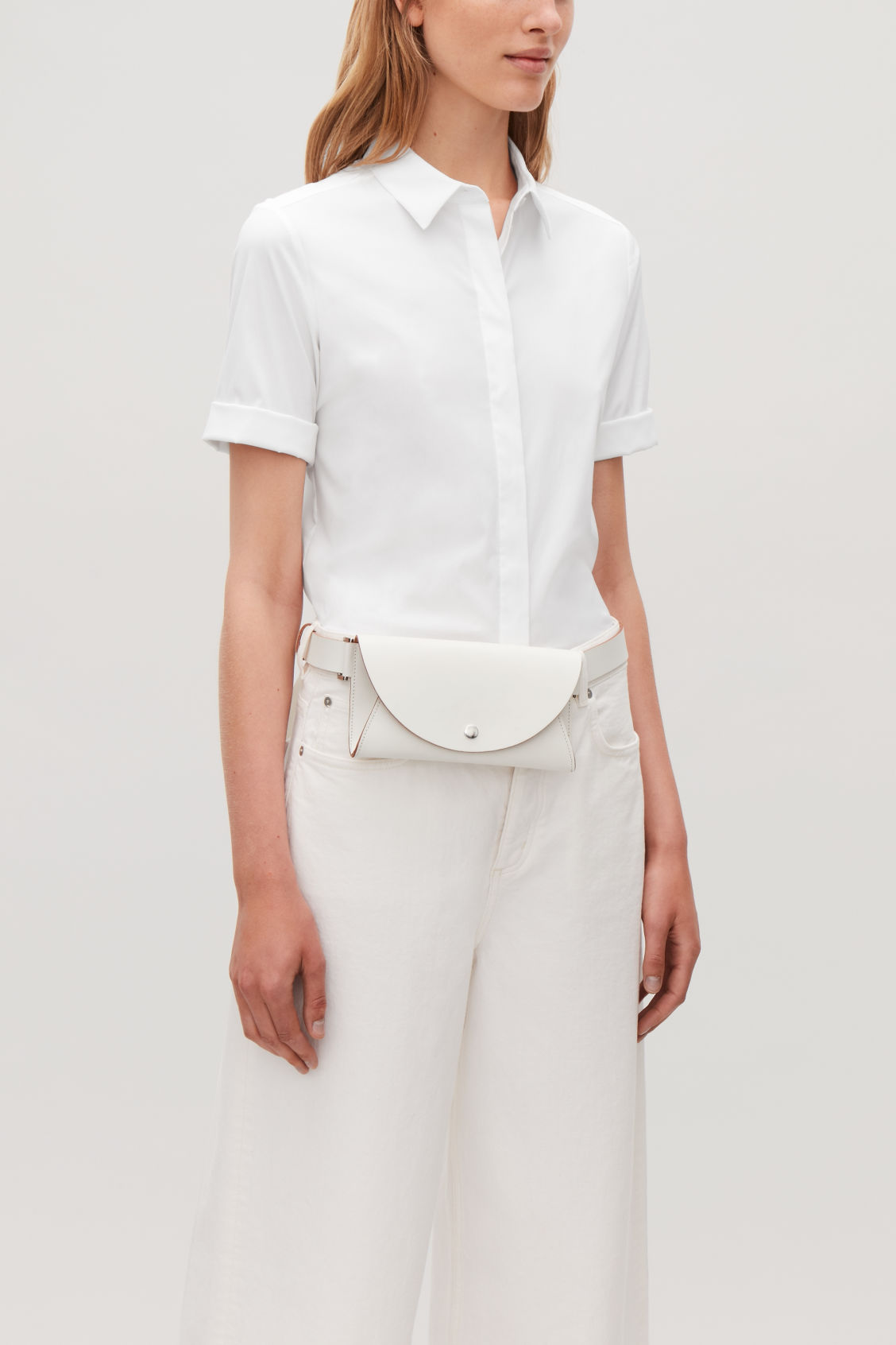 Detailed image of Cos detachable leather belt bag in white