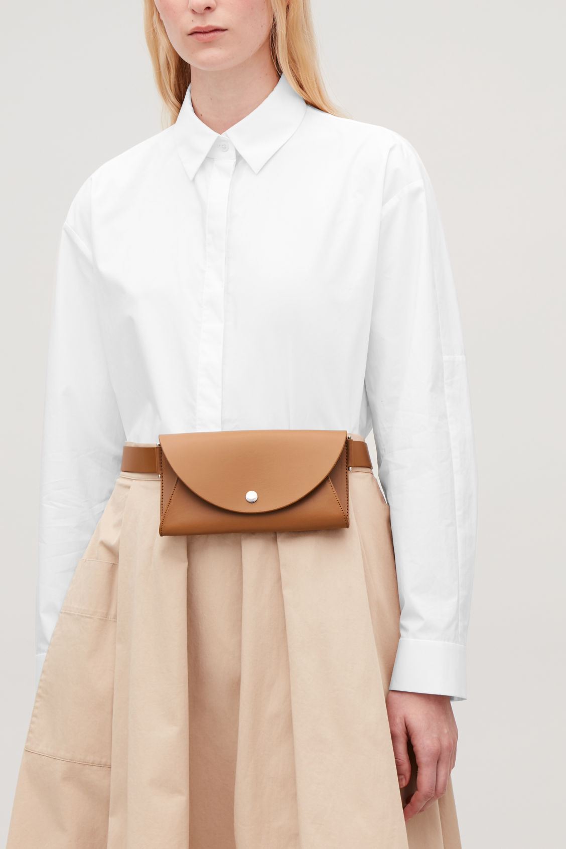 Detailed image of Cos detachable leather belt bag in beige