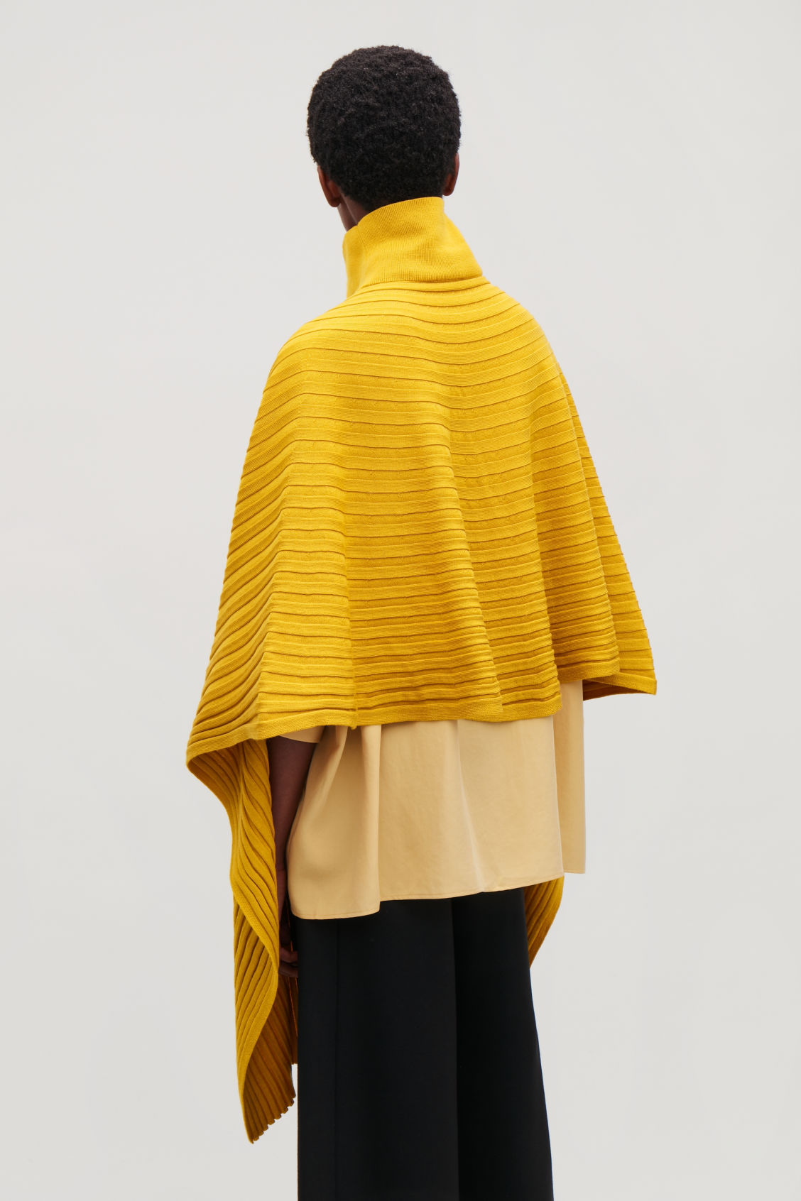 Detailed image of Cos ribbed roll-neck scarf in yellow