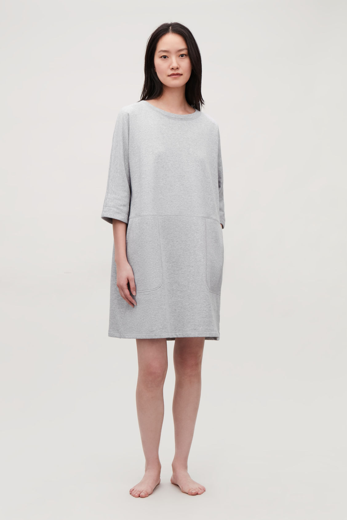 Detailed image of Cos patch-pocket jersey dress in grey