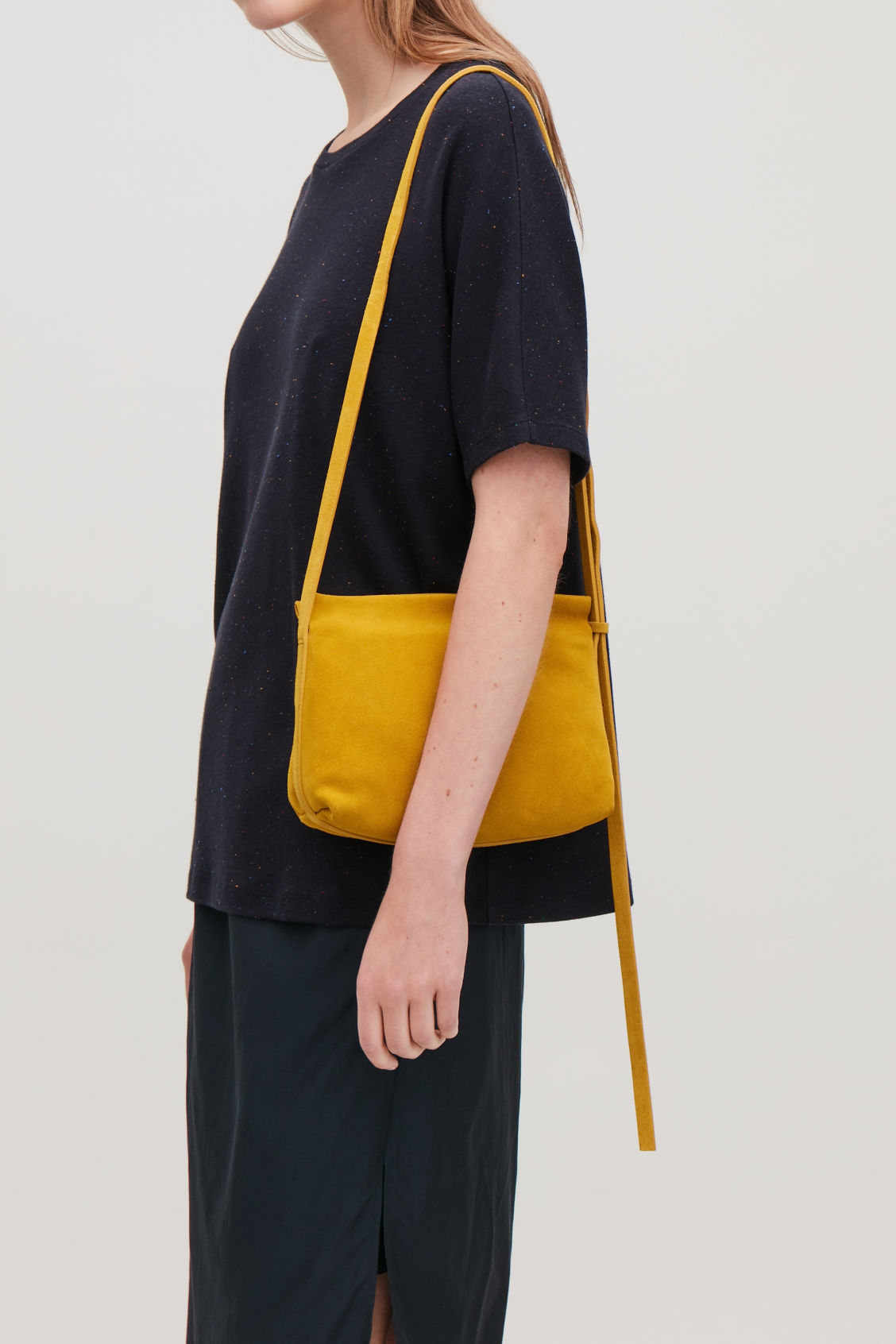 538e7c64aa9b Detailed image of Cos textured leather shoulder bag in yellow