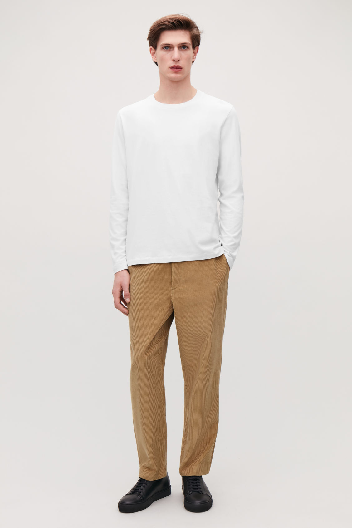 Detailed image of Cos long-sleeved cotton t-shirt  in beige