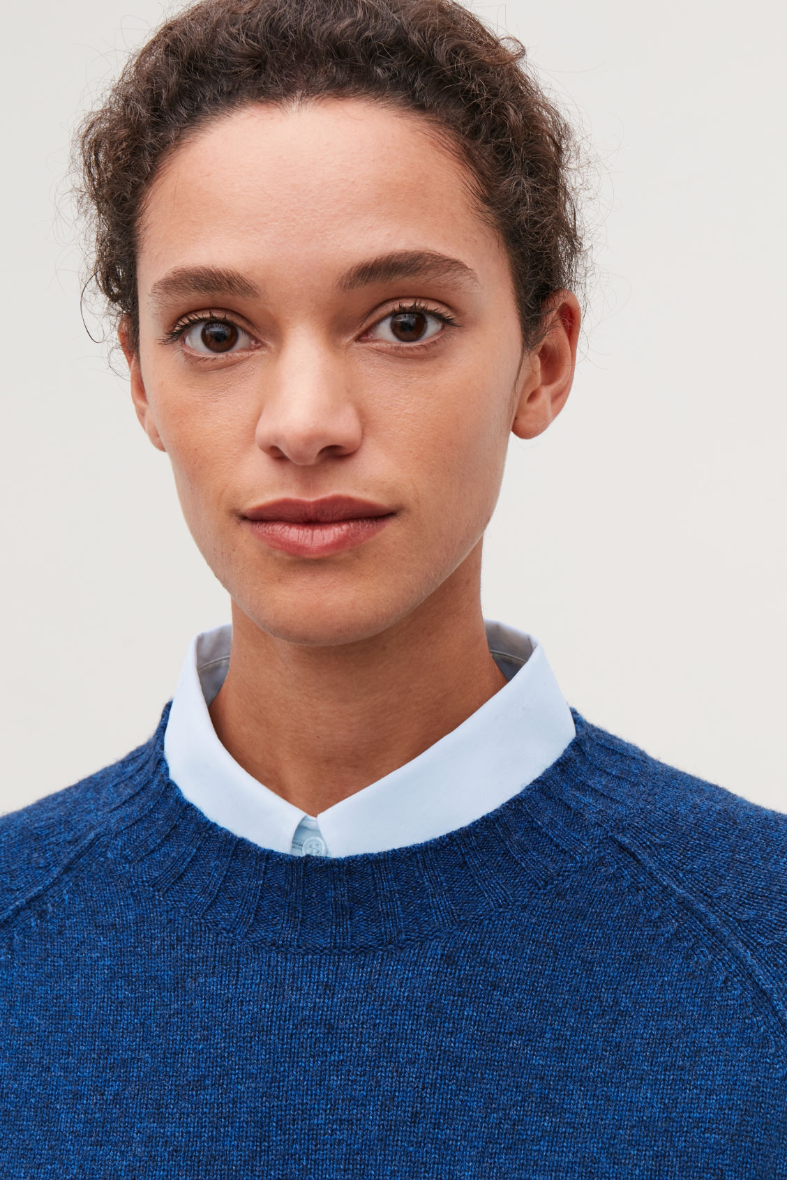 Detailed image of Cos pointed-collar mock shirt   in blue