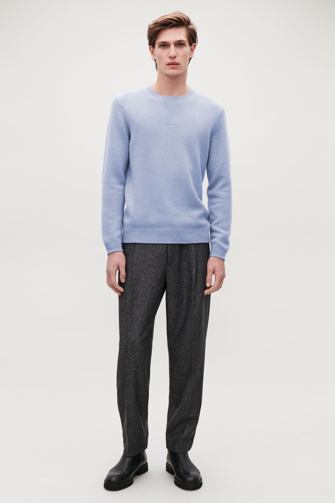 Detailed image of Cos stitch-detailed cashmere jumper in blue
