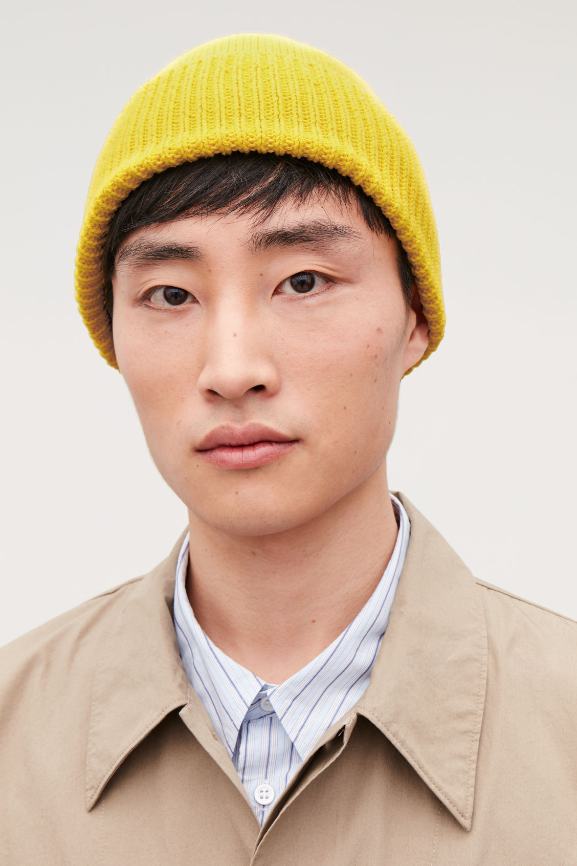 Detailed image of Cos cotton beanie in yellow