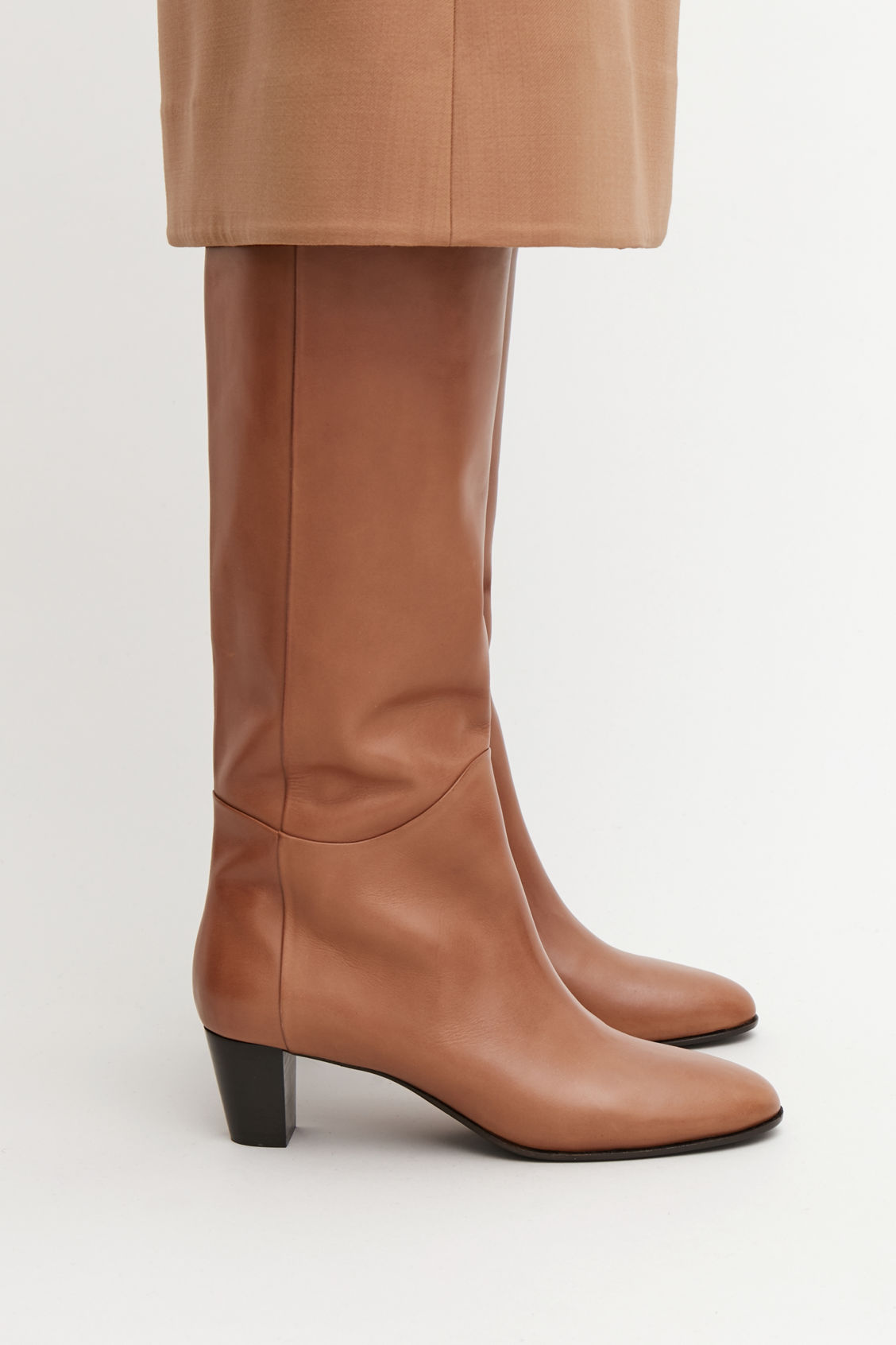 Detailed image of Cos knee-high leather boots in beige
