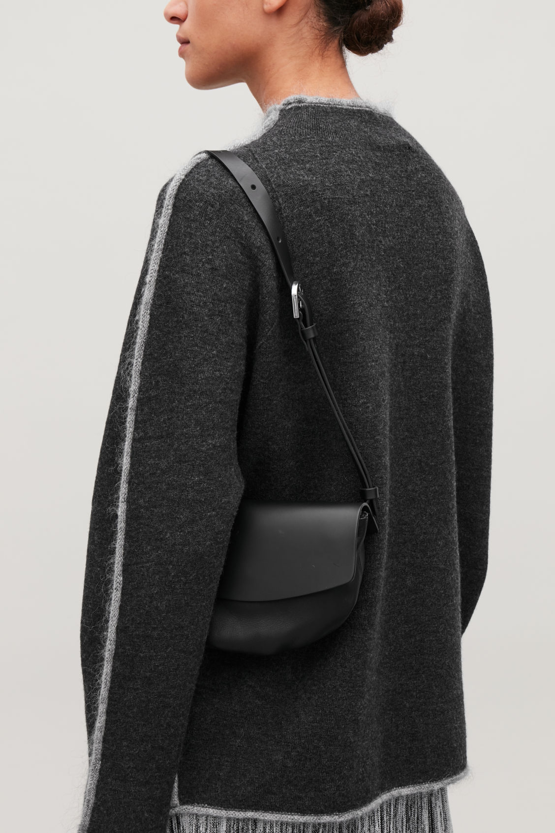 Detailed image of Cos leather belt bag in black