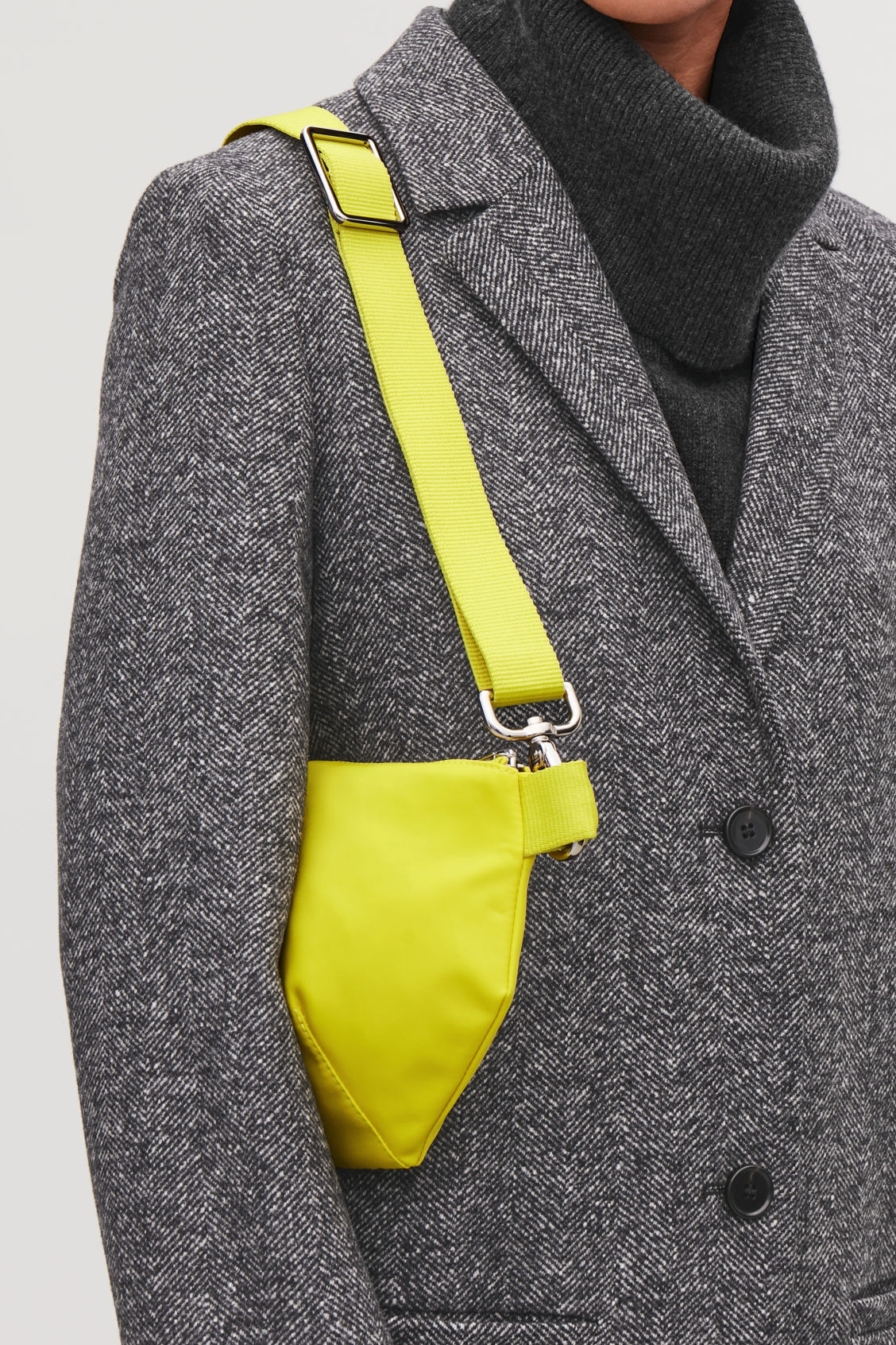 Detailed image of Cos nylon belt bag in yellow