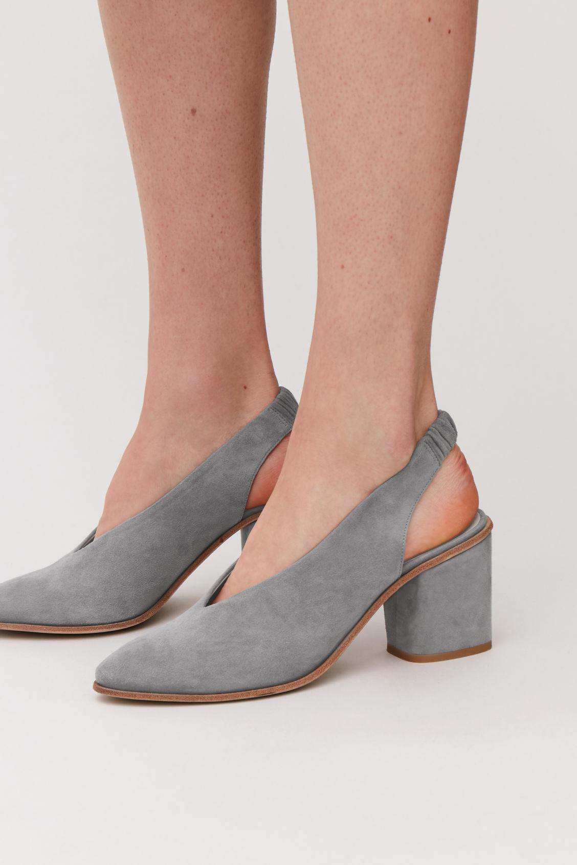 6de0991ff1e Detailed image of Cos suede slingback heels in grey