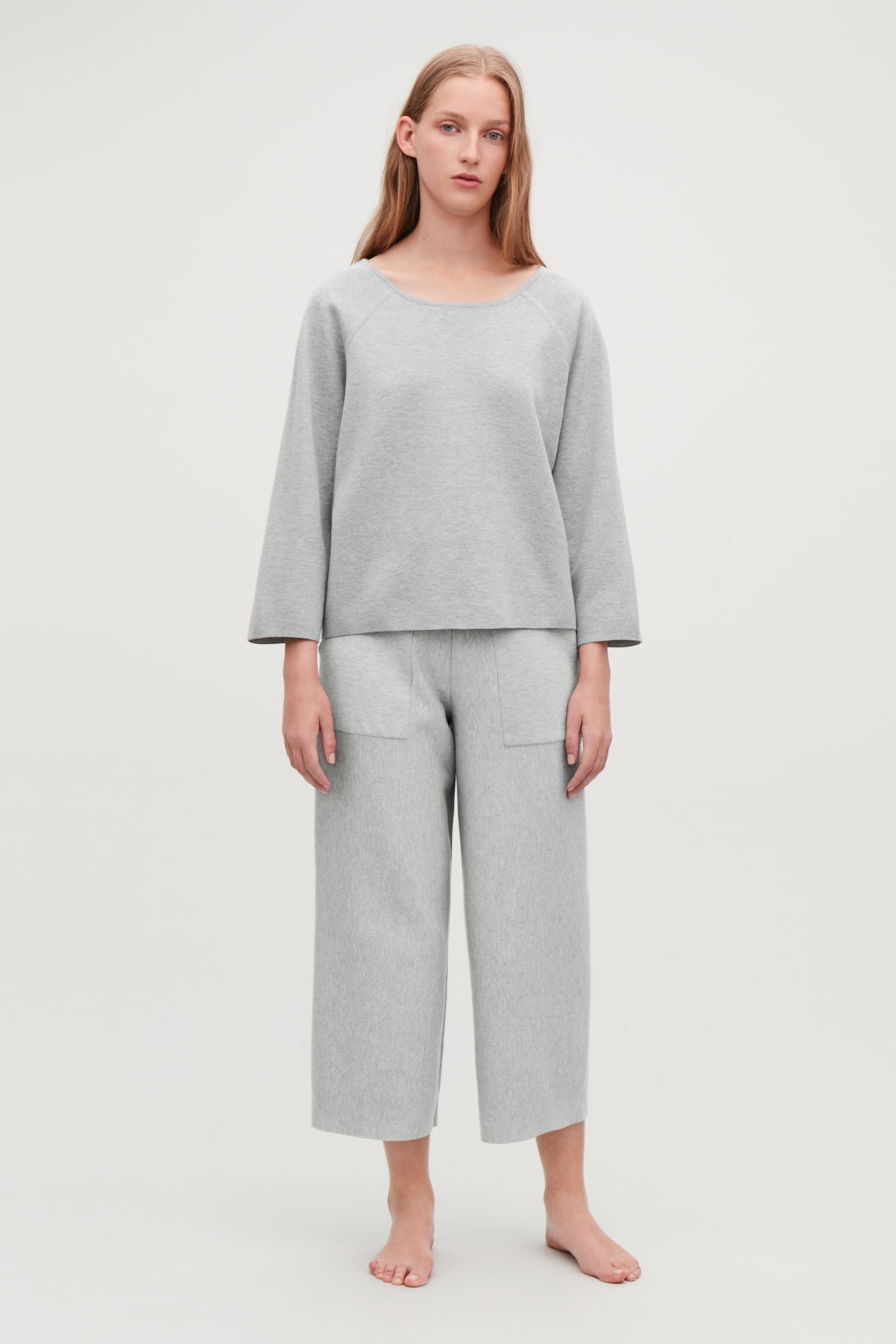 Detailed image of Cos cotton-cashmere knit top in grey