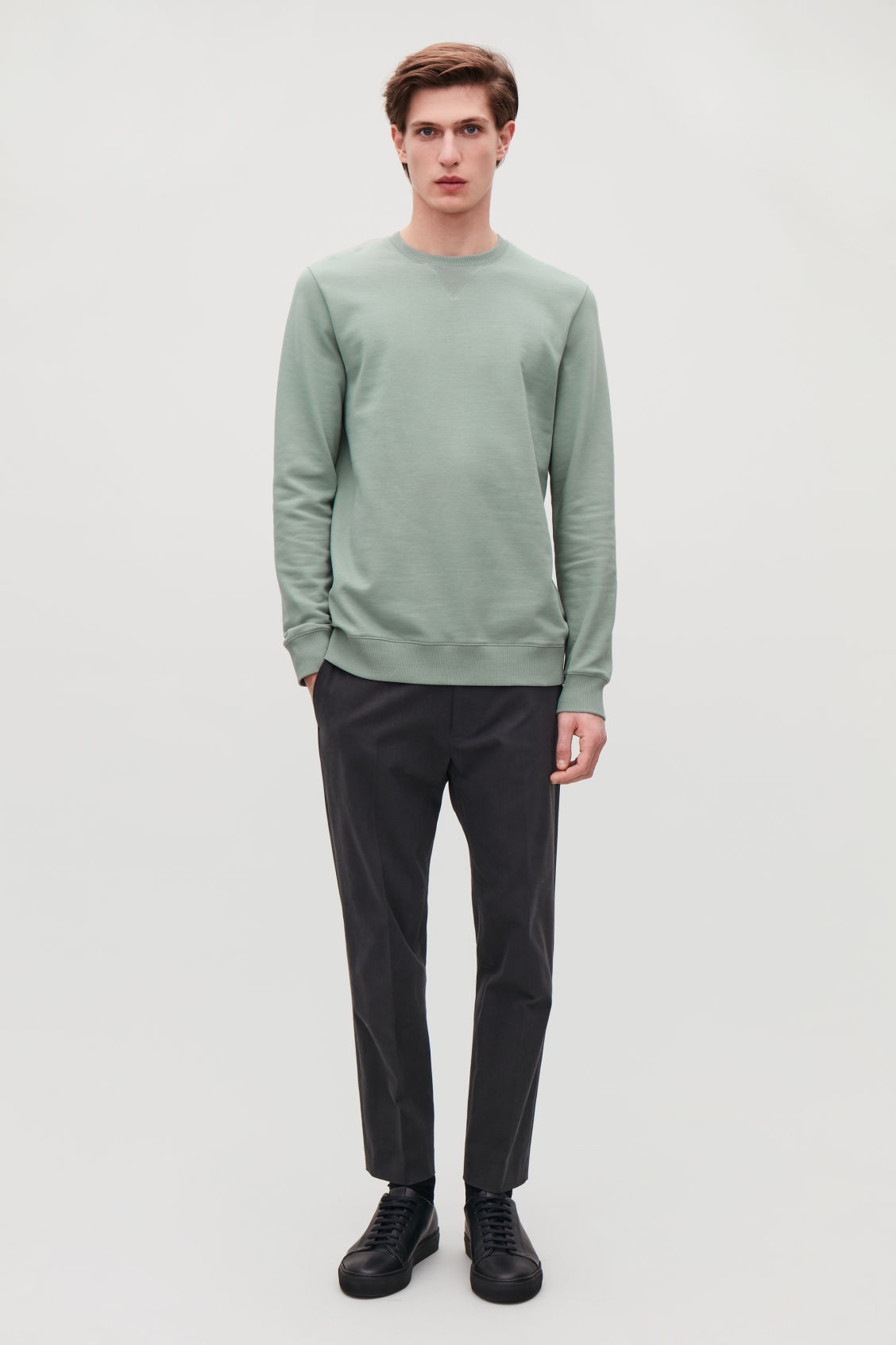 Detailed image of Cos brushed cotton sweatshirt in green