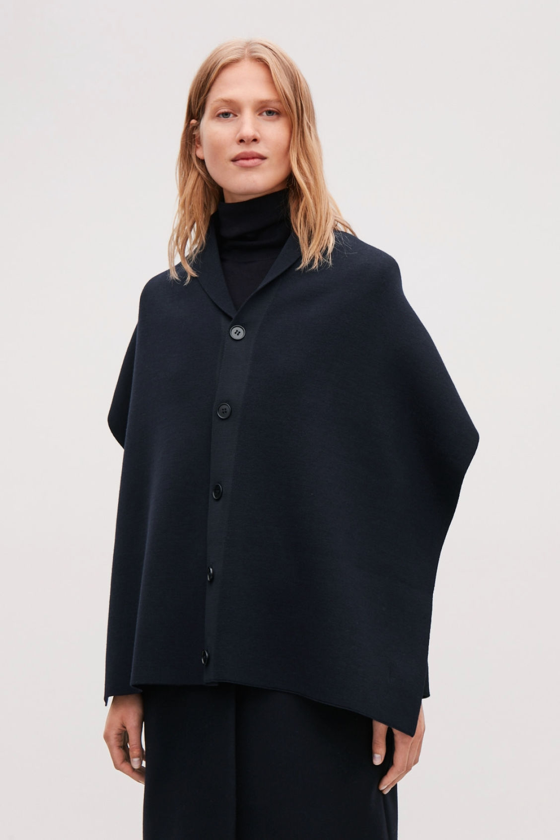 26c29fe7740 CAPE SCARF WITH BUTTONS - Navy - Hats Scarves and Gloves - COS