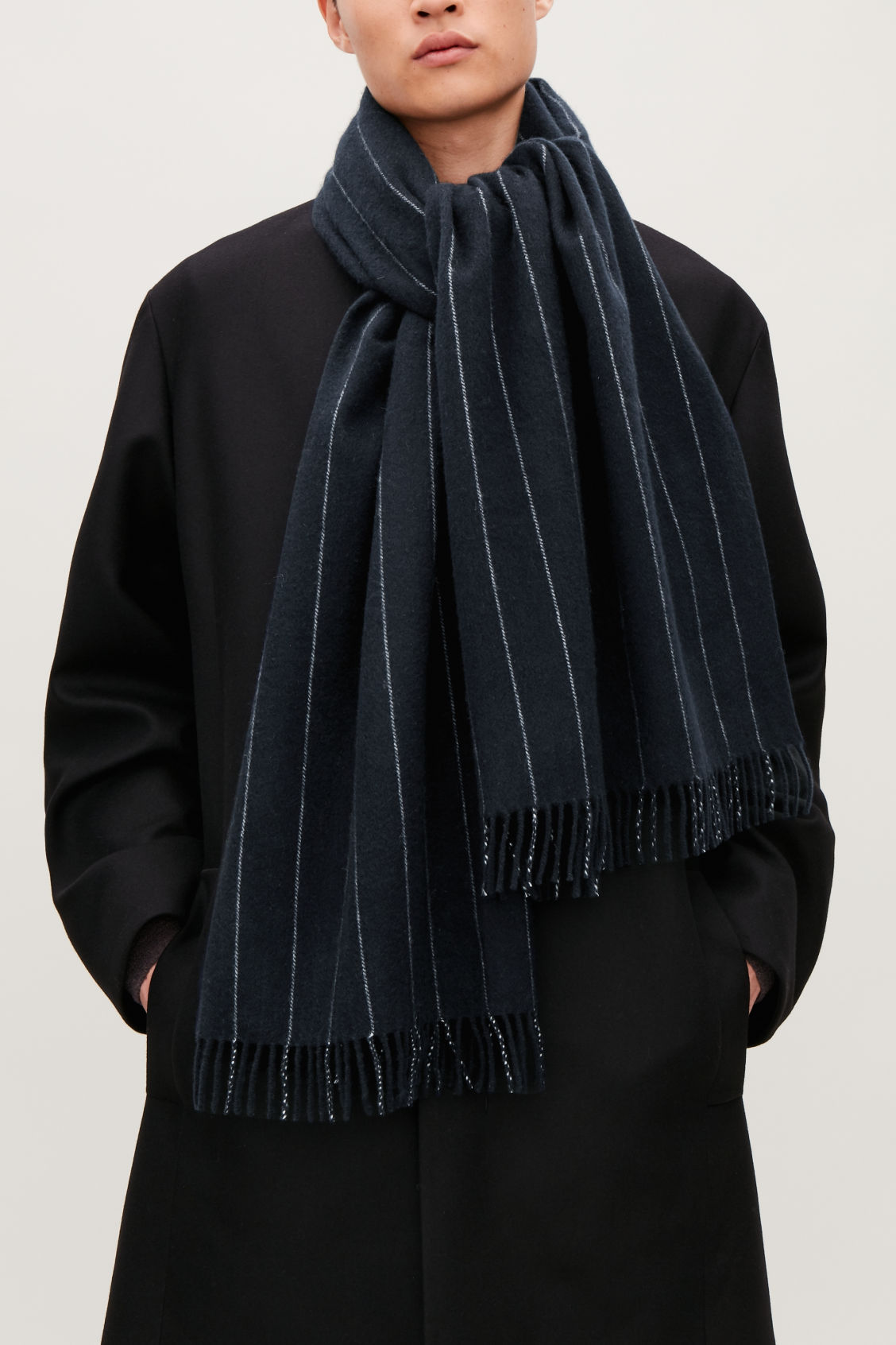 Detailed image of Cos striped wool scarf in blue