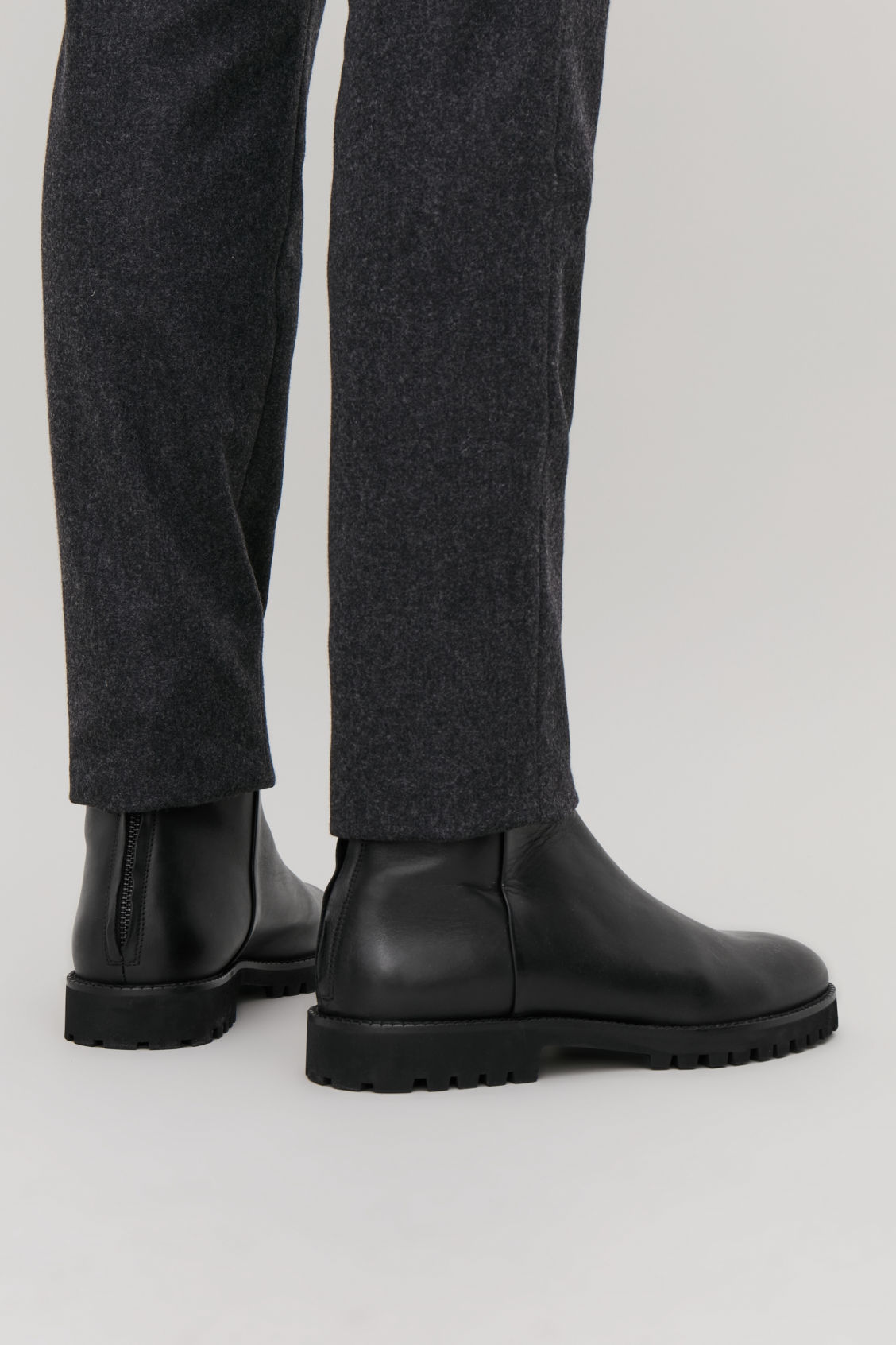 Detailed image of Cos chunky-sole leather boots in black