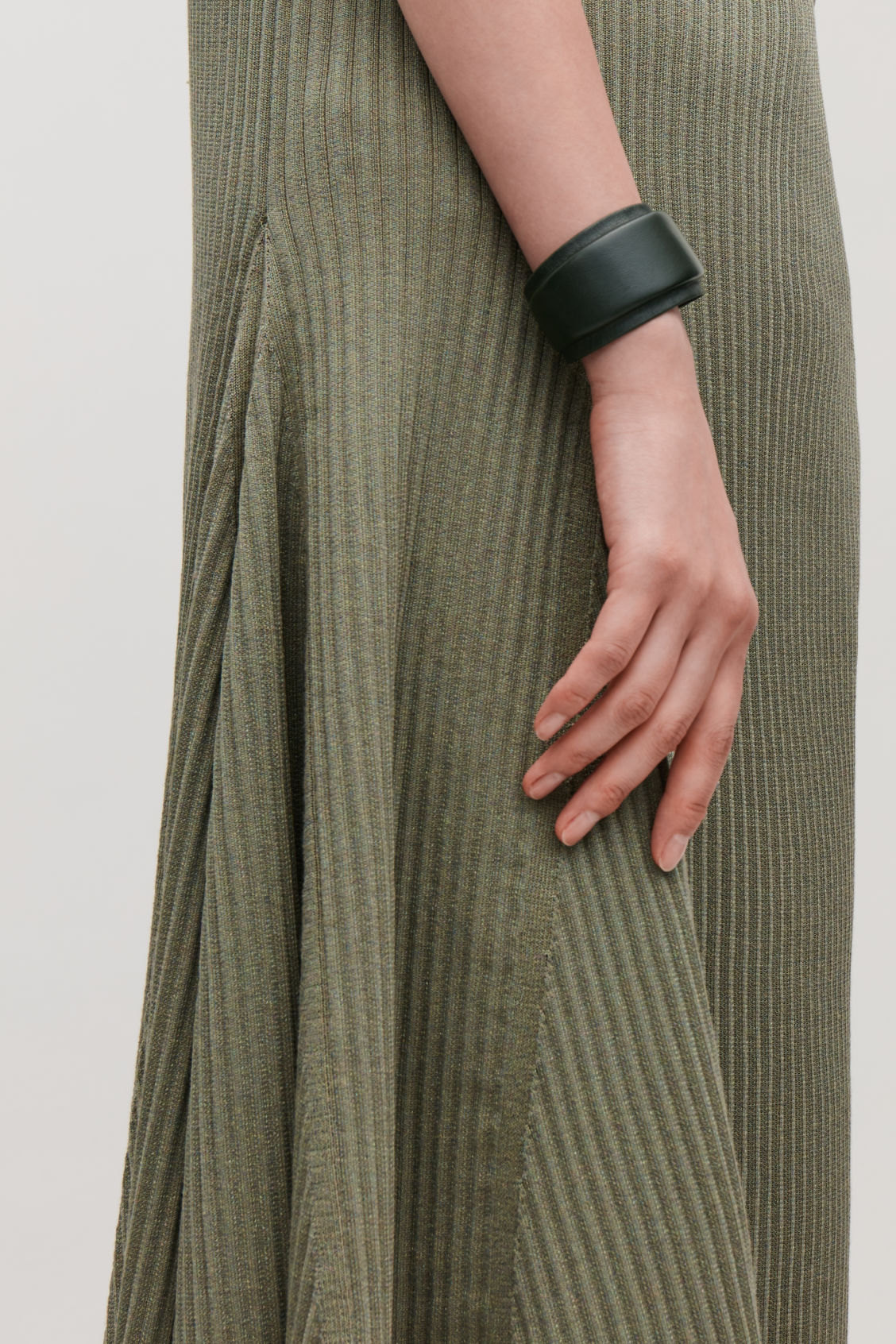 Detailed image of Cos padded two-tone leather cuff in green