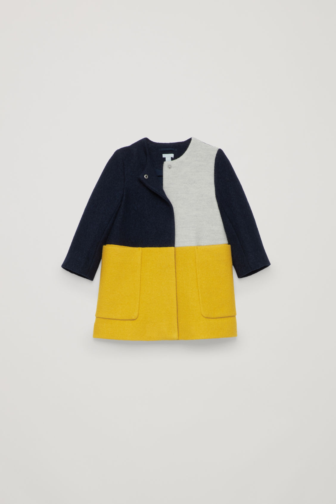 4764d1b75639 BOILED WOOL COAT - Yellow   navy   light grey - Girls - COS