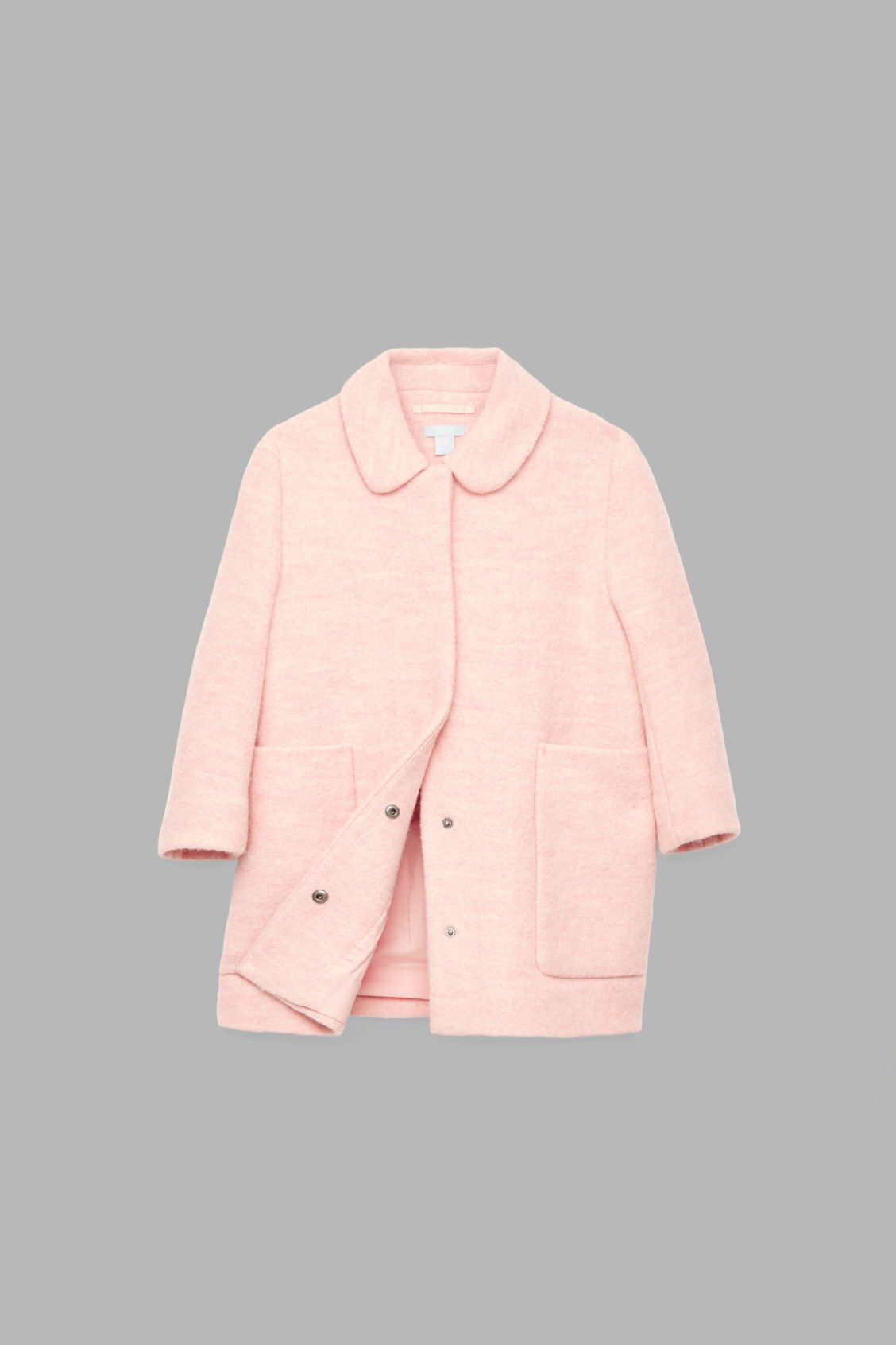 Detailed image of Cos boiled wool coat in pink
