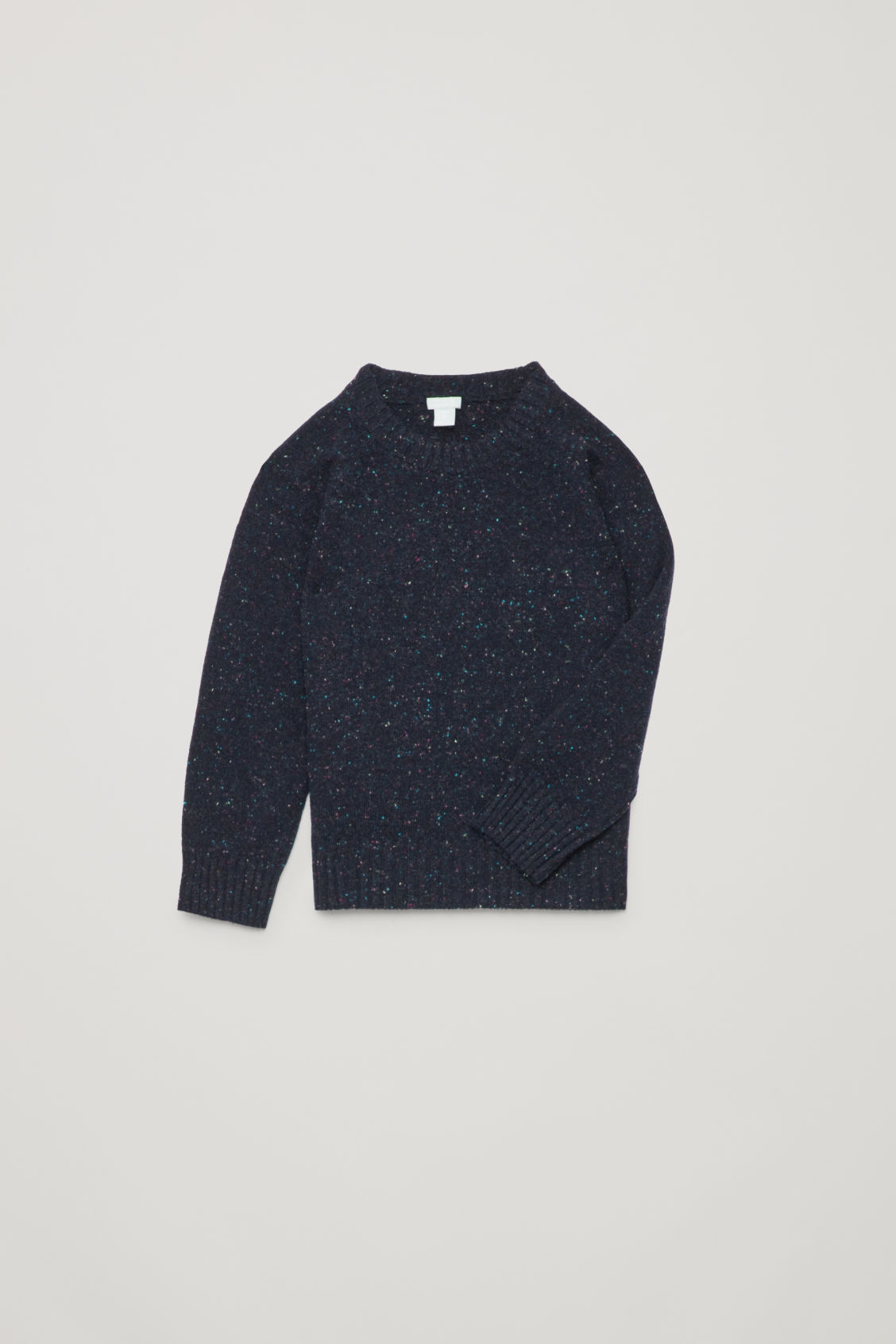 Detailed image of Cos flecked wool jumper in blue