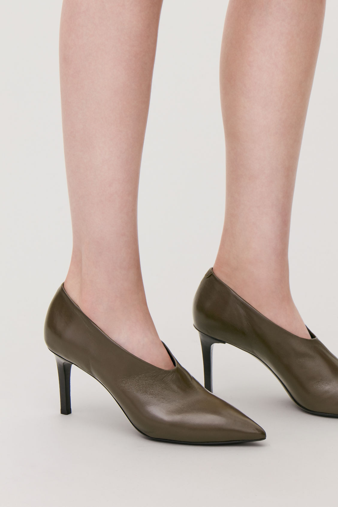 Detailed image of Cos pointed leather heels in green