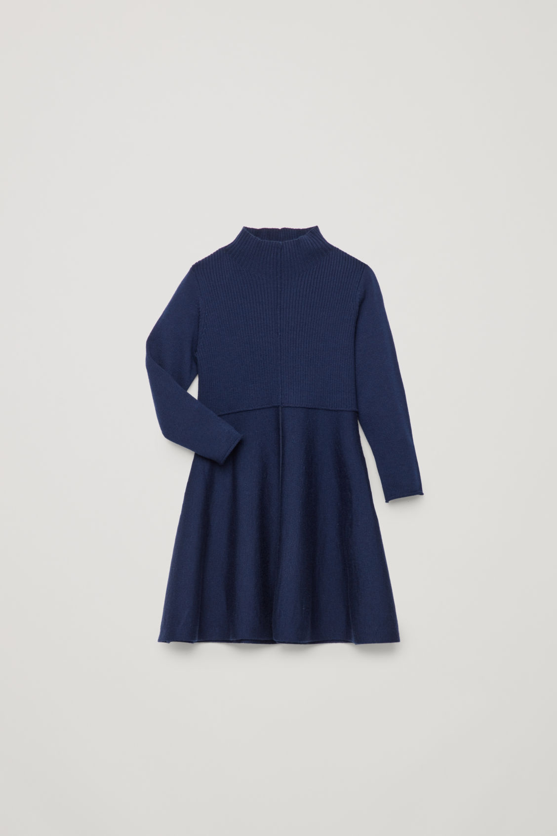 Detailed image of Cos mix-knit merino dress  in blue