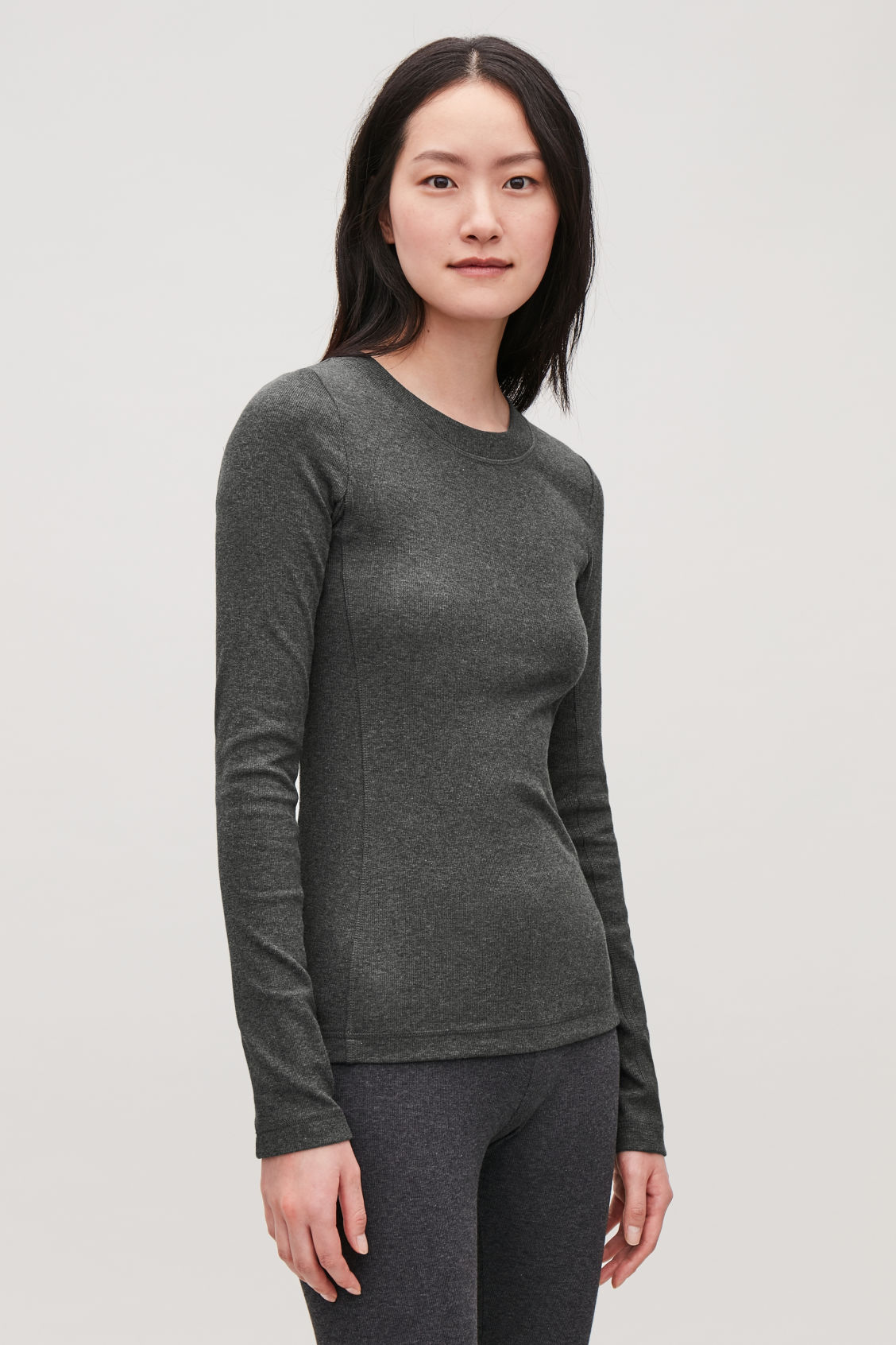 Detailed image of Cos slim ribbed-jersey top in grey